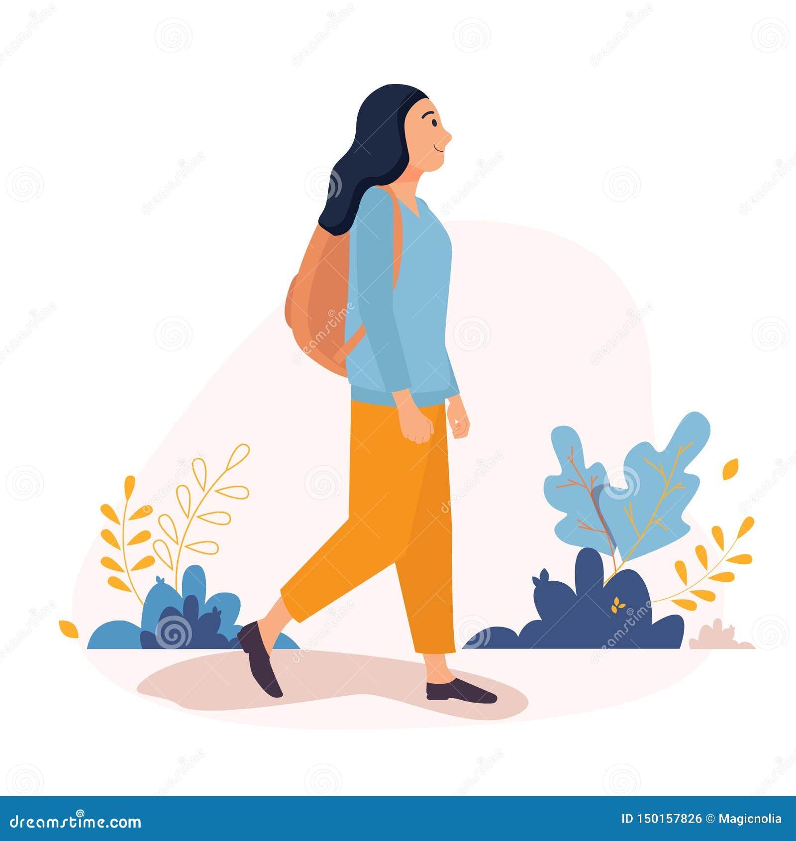 走外面在有背包的城市附近的愉快的年轻女人 传染媒介在一个平的样式的字符例证在白色