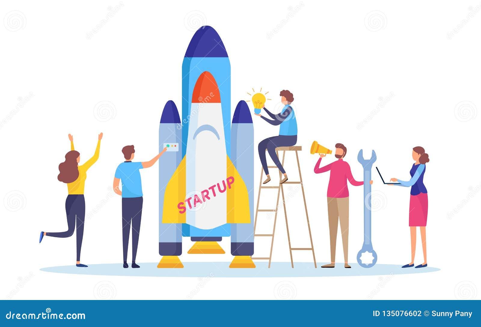 起动项目 促进您的企业概念 商人的发射火箭 平的动画片例证传染媒介