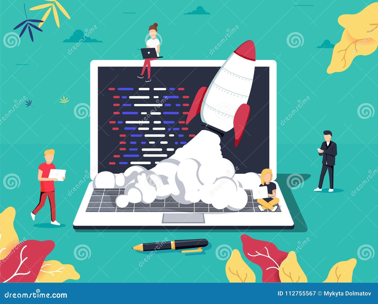 起动,程序员,企业项目,想法,项目管理 平的设计传染媒介例证