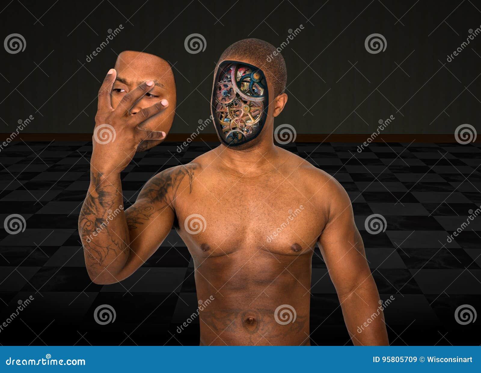超现实的机器人人去除面孔