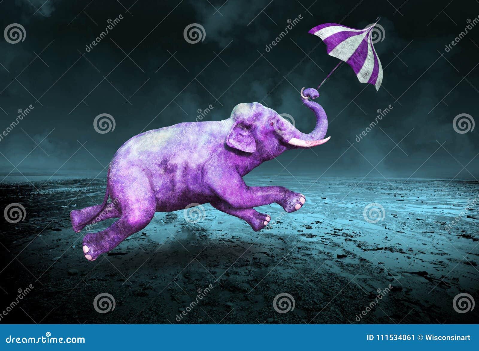 超现实的紫色紫罗兰色飞行大象