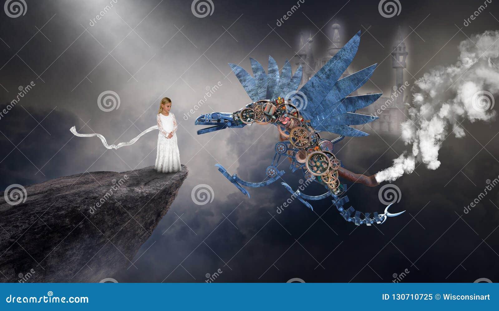 超现实的Steampunk龙,想象力,幻想,少女