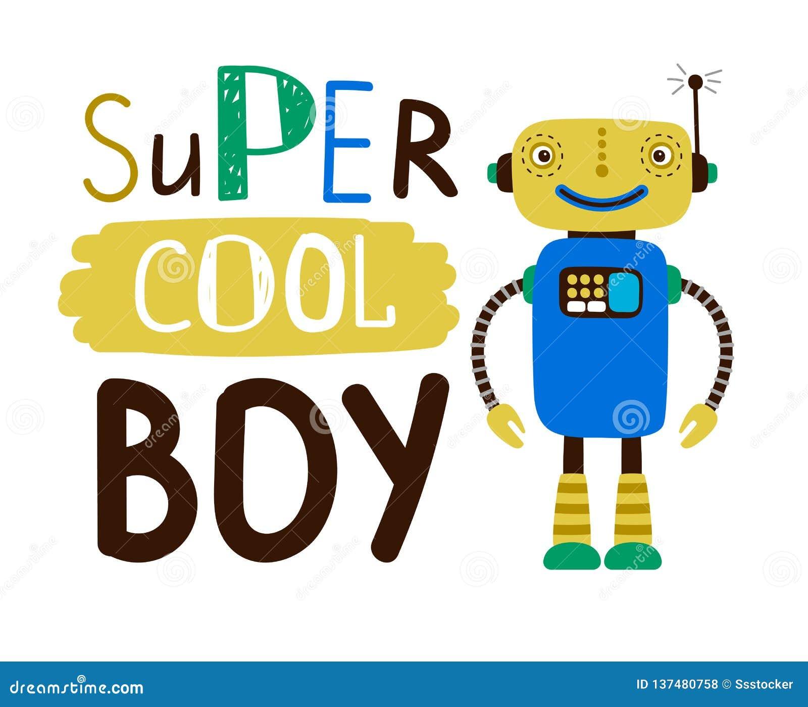 超级凉快的男孩设计T恤杉 平的字符机器人