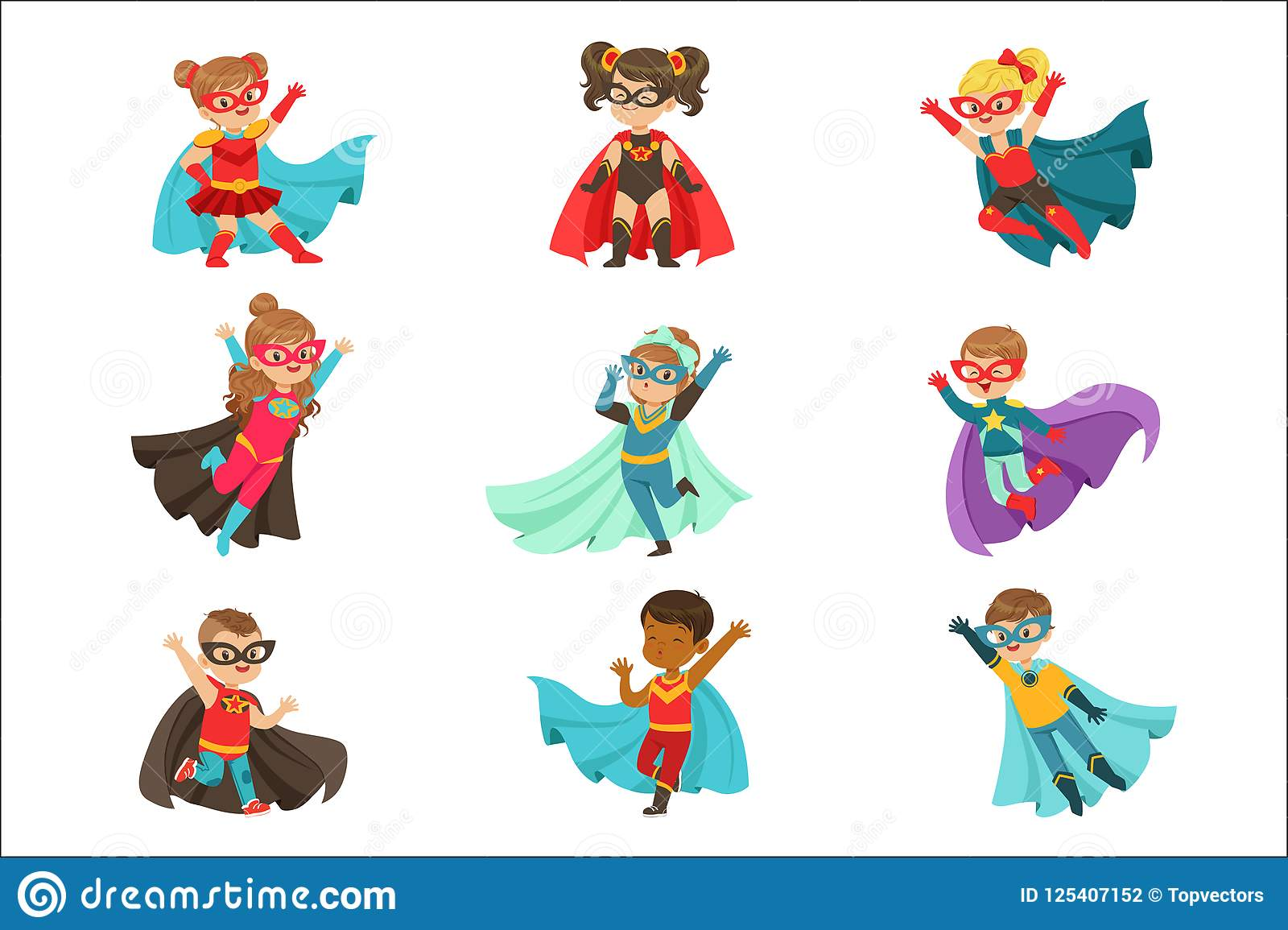 超级孩子设置了,男孩和女孩超级英雄服装五颜六色的传染媒介例证的
