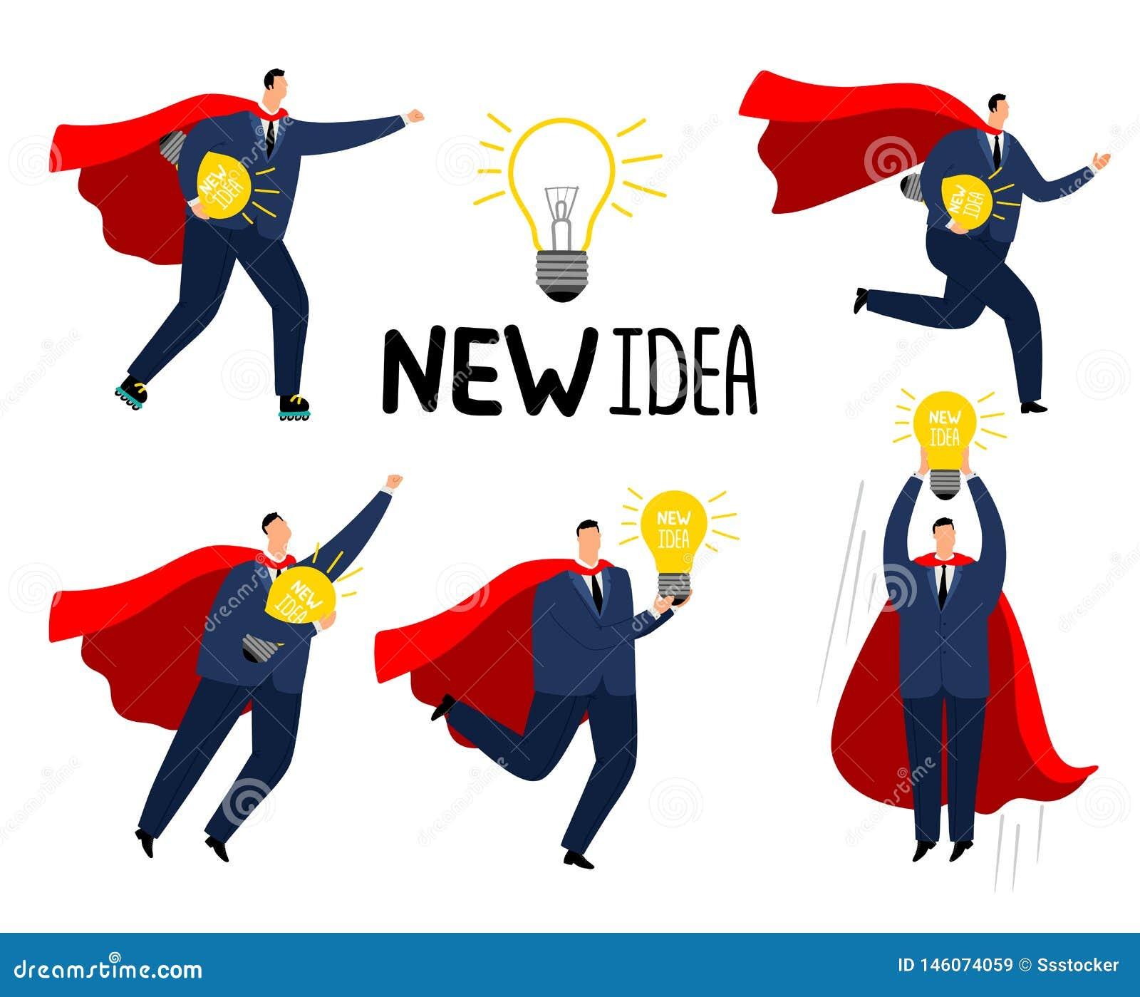 超级想法商人 红色海角的勇敢的坚强的商人超级英雄有新的想法,处理危急办法动画片