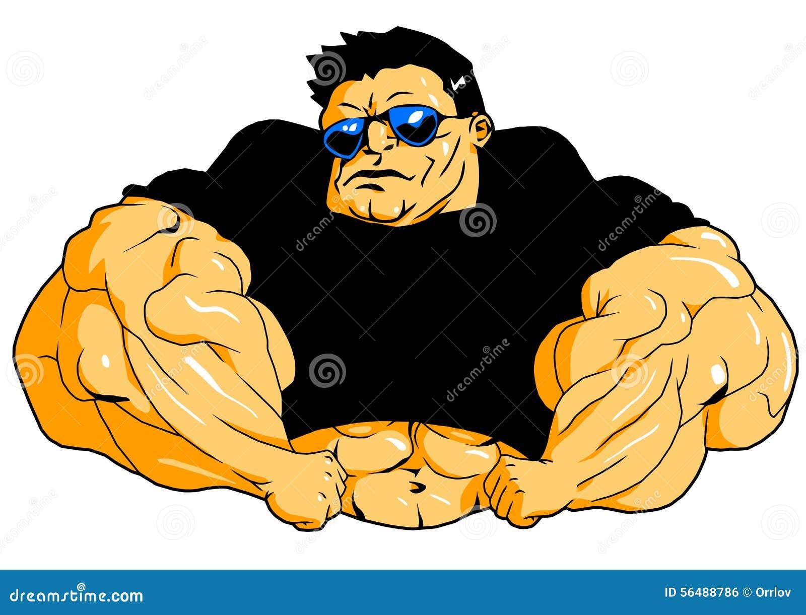 超级肌肉爱好健美者,例证,颜色,商标,在白色.图片