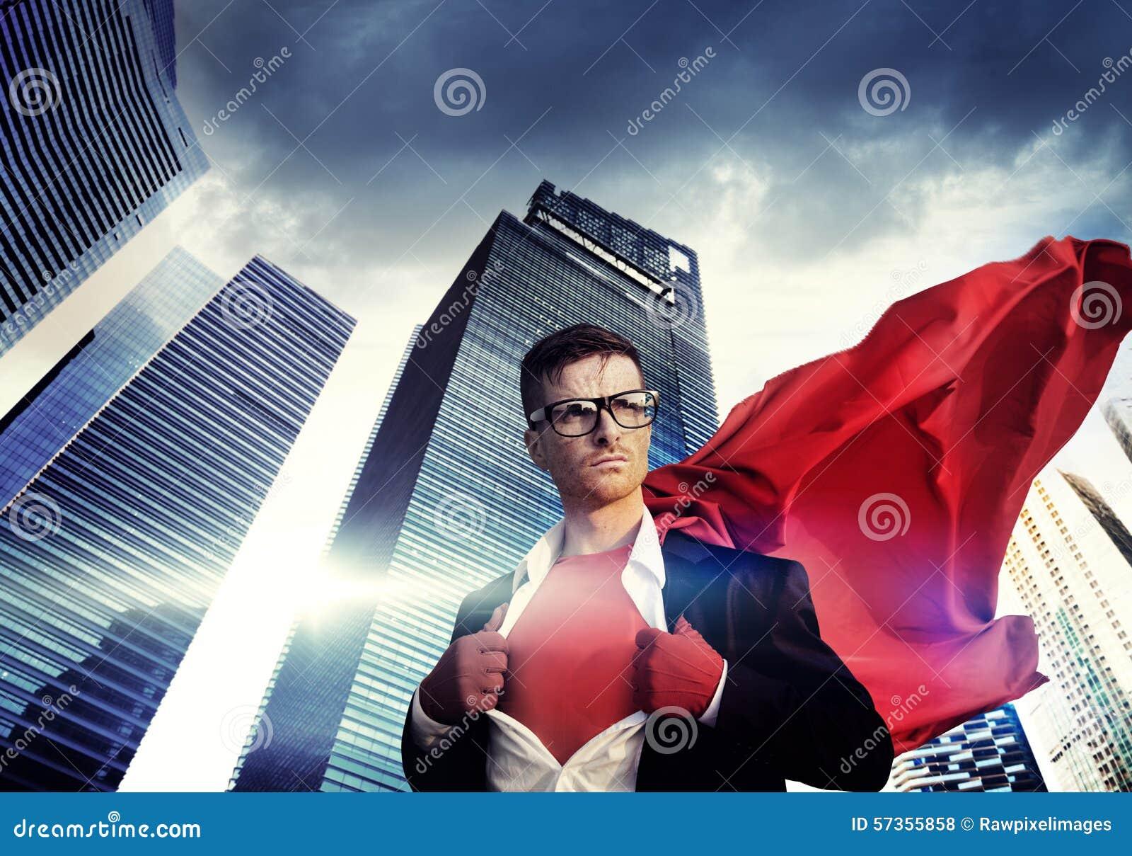 超级英雄商人力量都市风景Cloudscape概念