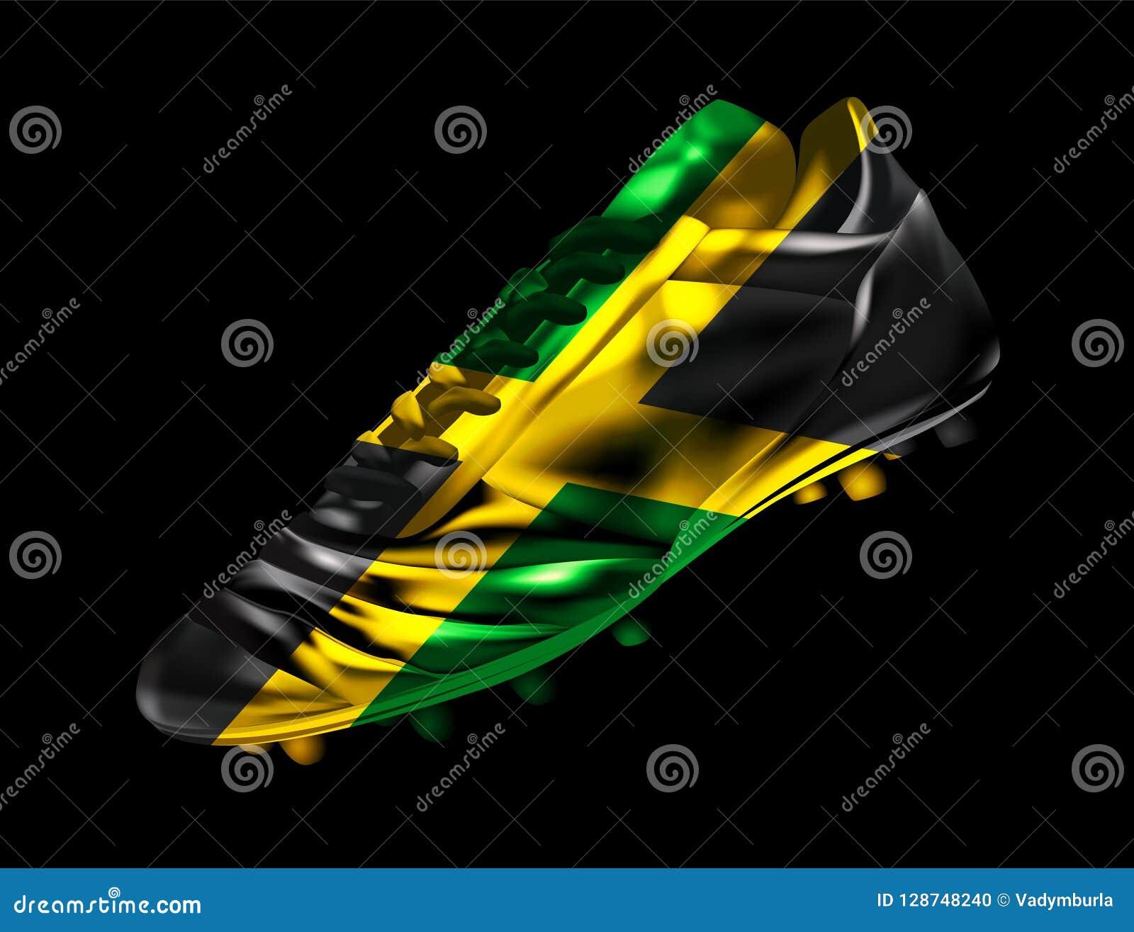 足球与牙买加的旗子的橄榄球起动打印了对此