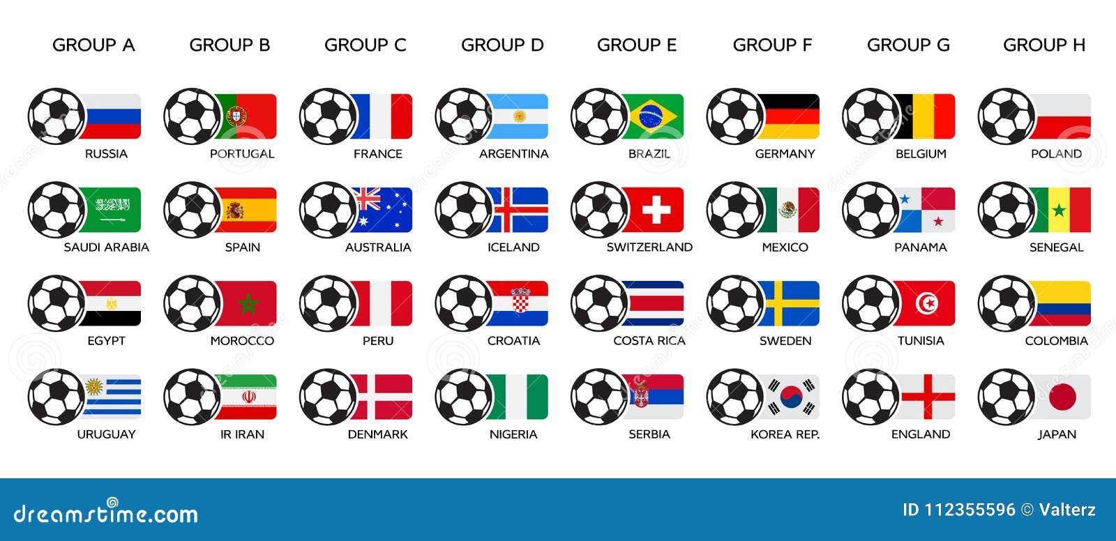 足球世界杯2018年 俄罗斯2018年世界杯、队小组和国旗 套全国传染媒介旗子