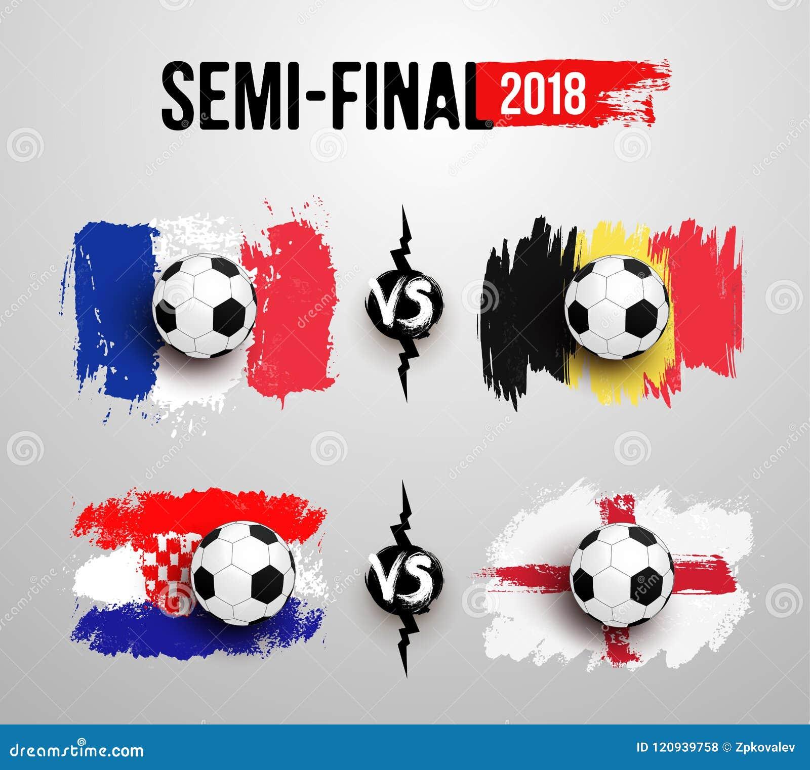 足球世界杯2018年 半决赛 套在法国的旗子的现实足球对比利时,克罗地亚对英国做了刷子str