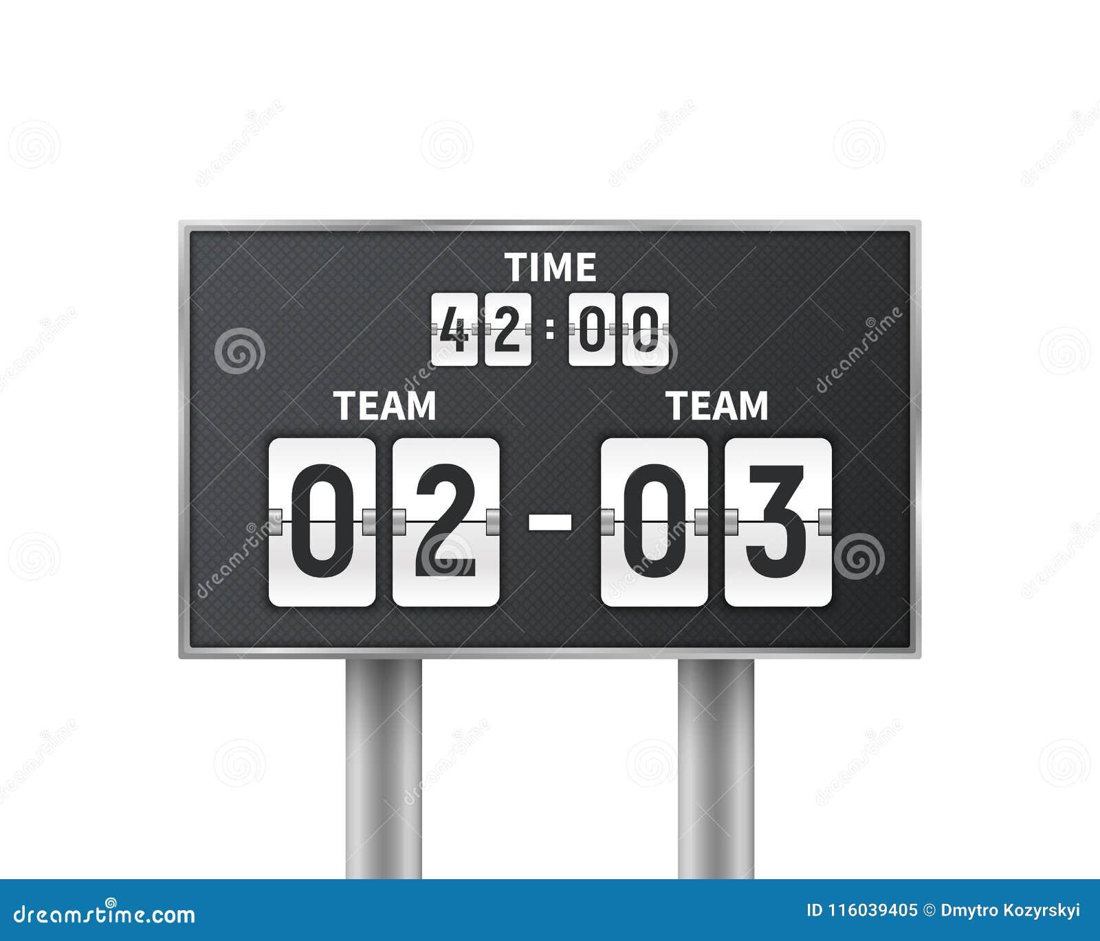 足球,在白色背景隔绝的橄榄球机械记分牌 与时间,结果显示的设计读秒 概念