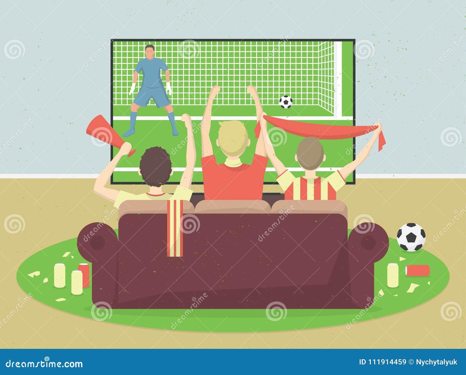 足球/橄榄球队爱好者看与比赛的电视,坐长沙发 庆祝进的球