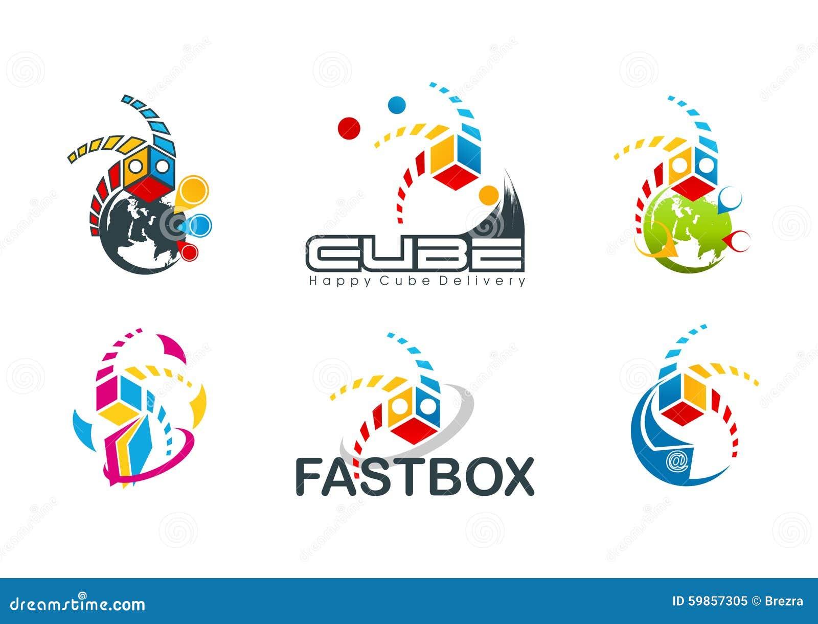 活跃立方体商标,速度箱子标志,快速的目的地构思设计