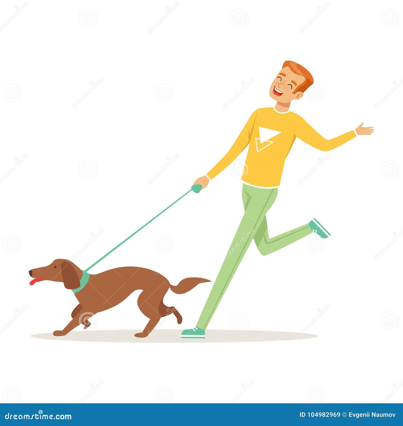 跑与狗的愉快的年轻人户外 人的s最好的朋友 健康生活方式 家畜 动画片男性