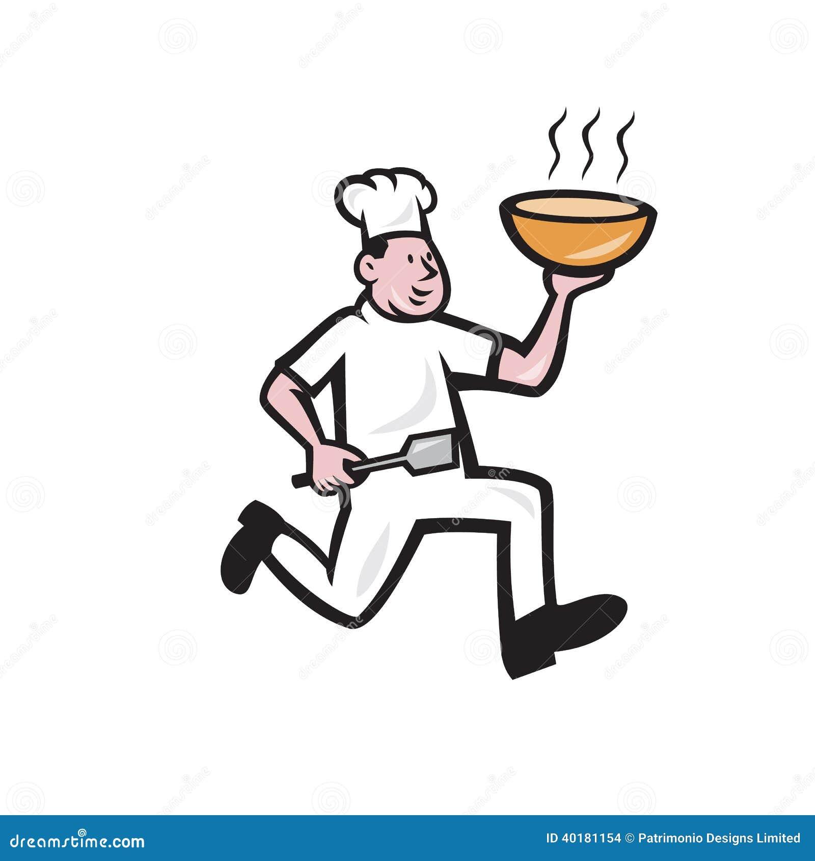 跑拿着热的碗汤面看从旁边的厨师厨师的例证完成在被隔绝的白色背景