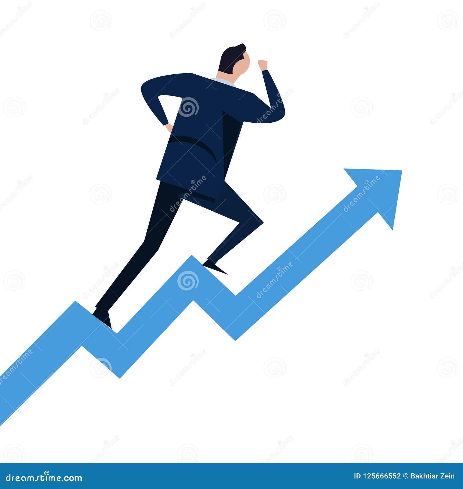 跑在步成长曲线图的商人上升  上升在台阶的事业成功的概念