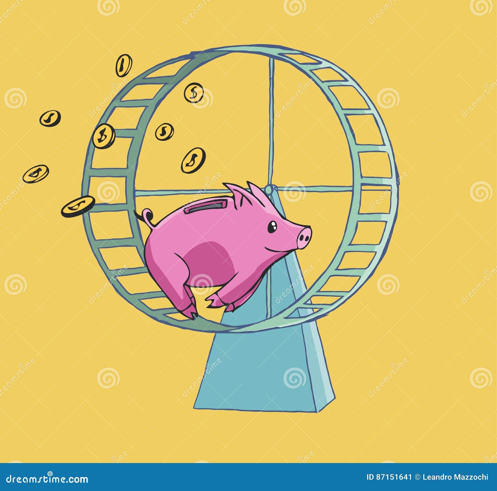 跑在仓鼠轮子的存钱罐