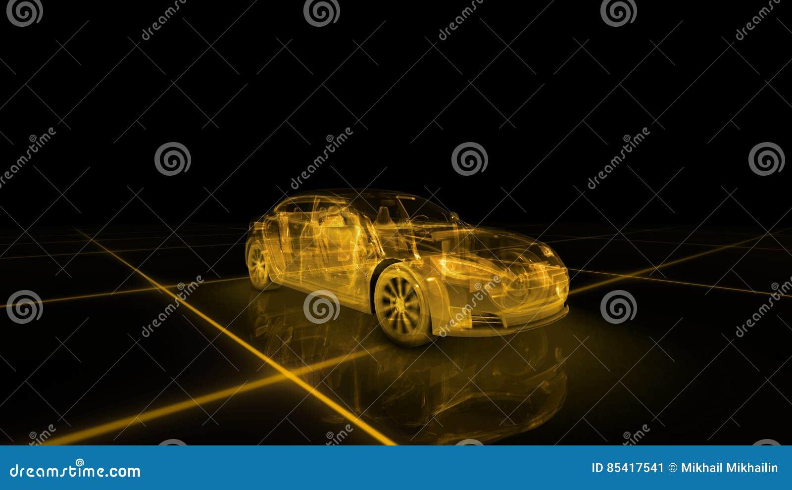 跑车导线模型有黄色霓虹ob黑色背景
