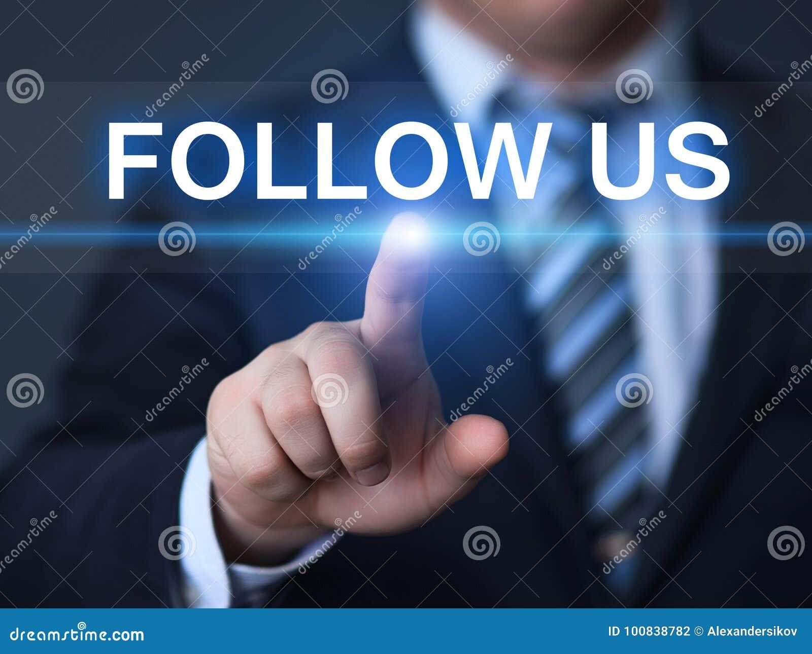 跟随我们社会媒介追随者网上营销企业互联网概念