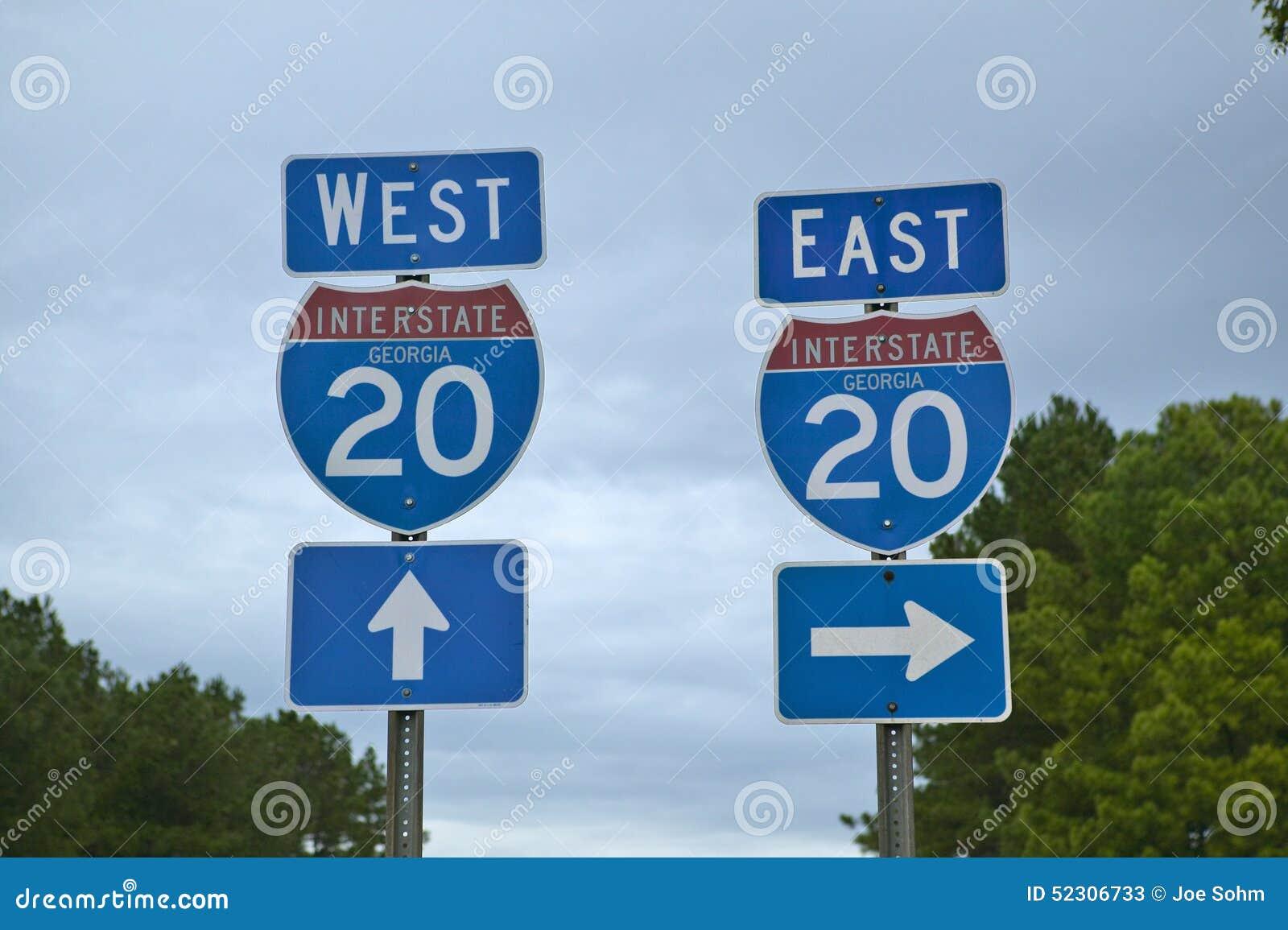 跨境20个高速公路标志去的东西方在东南美国和乔治亚