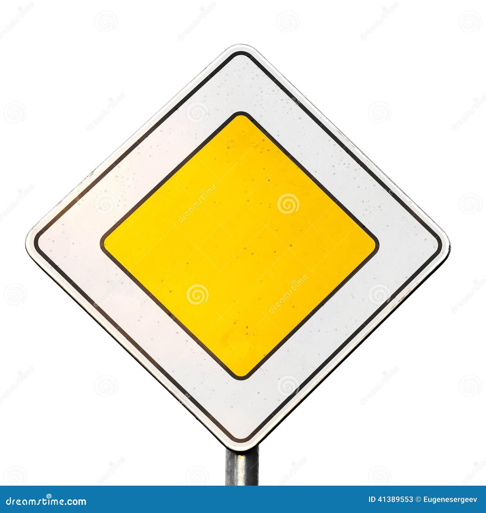 主路在白色隔绝的黄色roadsign