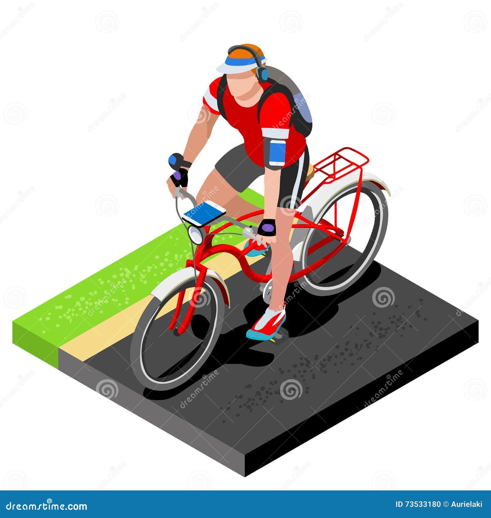 路循环的骑自行车者解决 3D自行车的平的等量骑自行车者 室外制定出的路循环的锻炼 循环的自行车