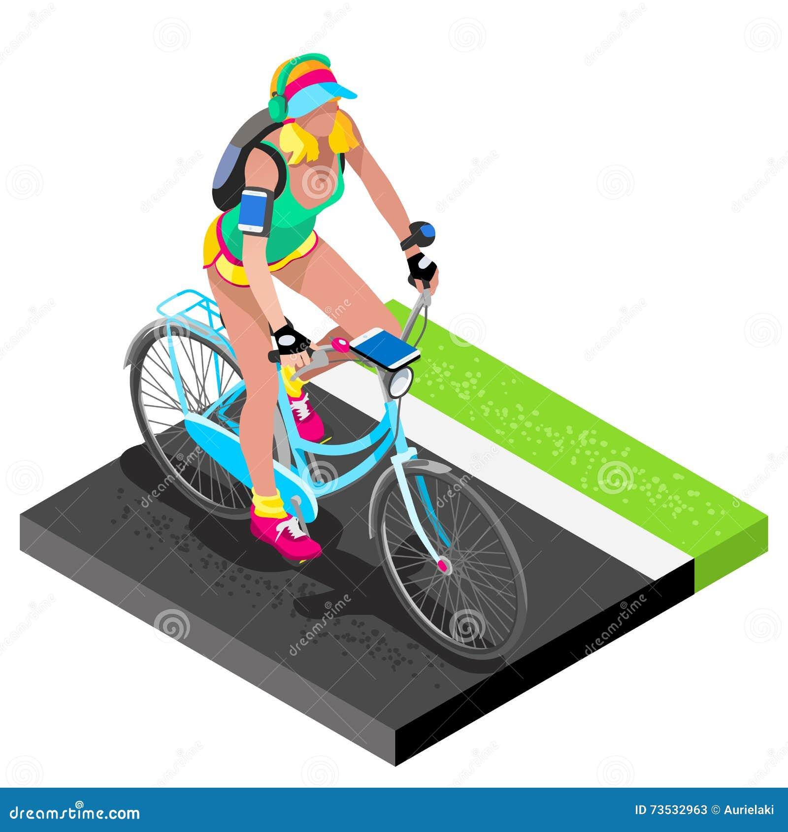 路循环的骑自行车者解决 3D自行车的平的等量骑自行车者