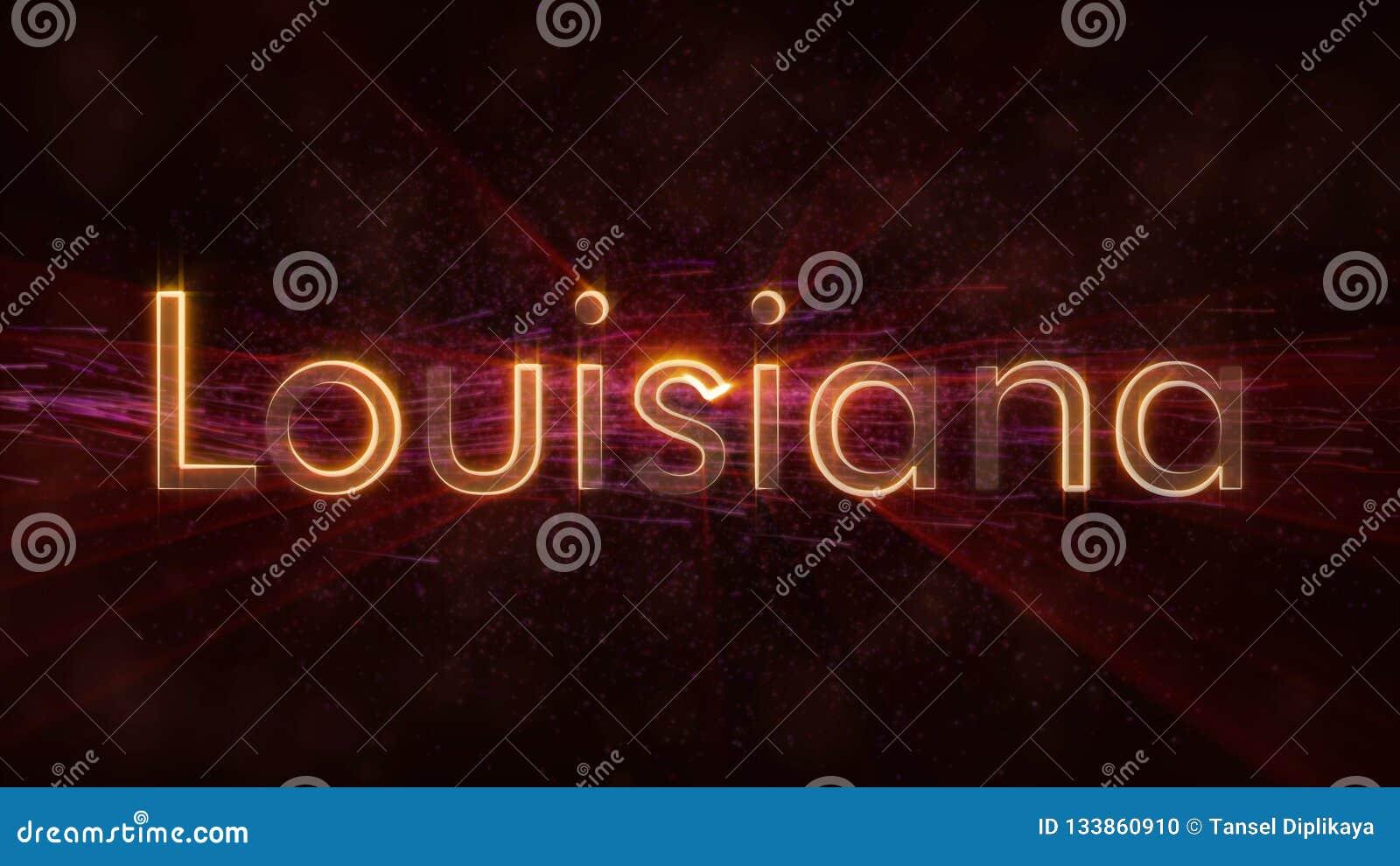 路易斯安那-发光的使成环的状态名字文本动画