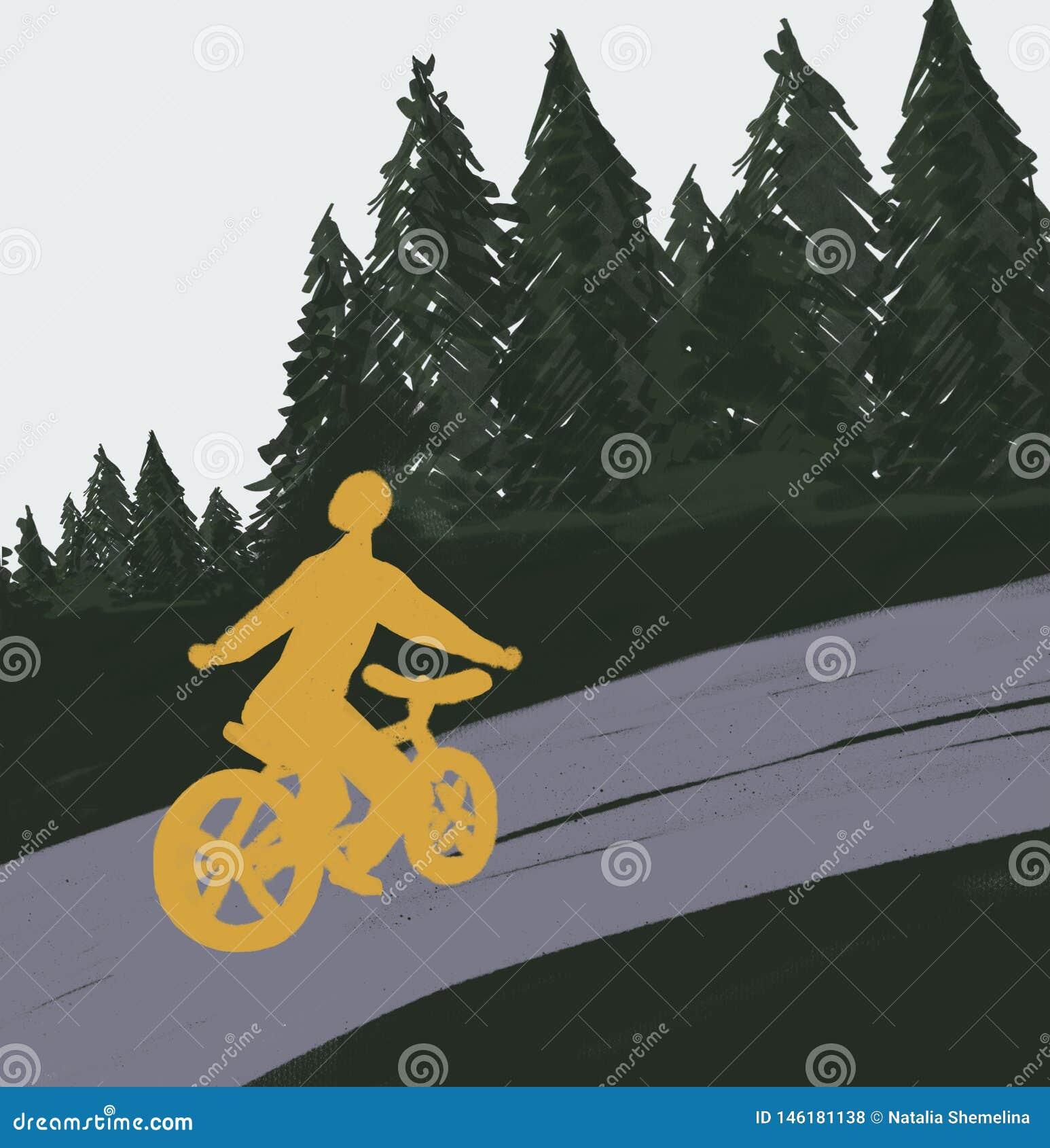 路的骑自行车者在森林里