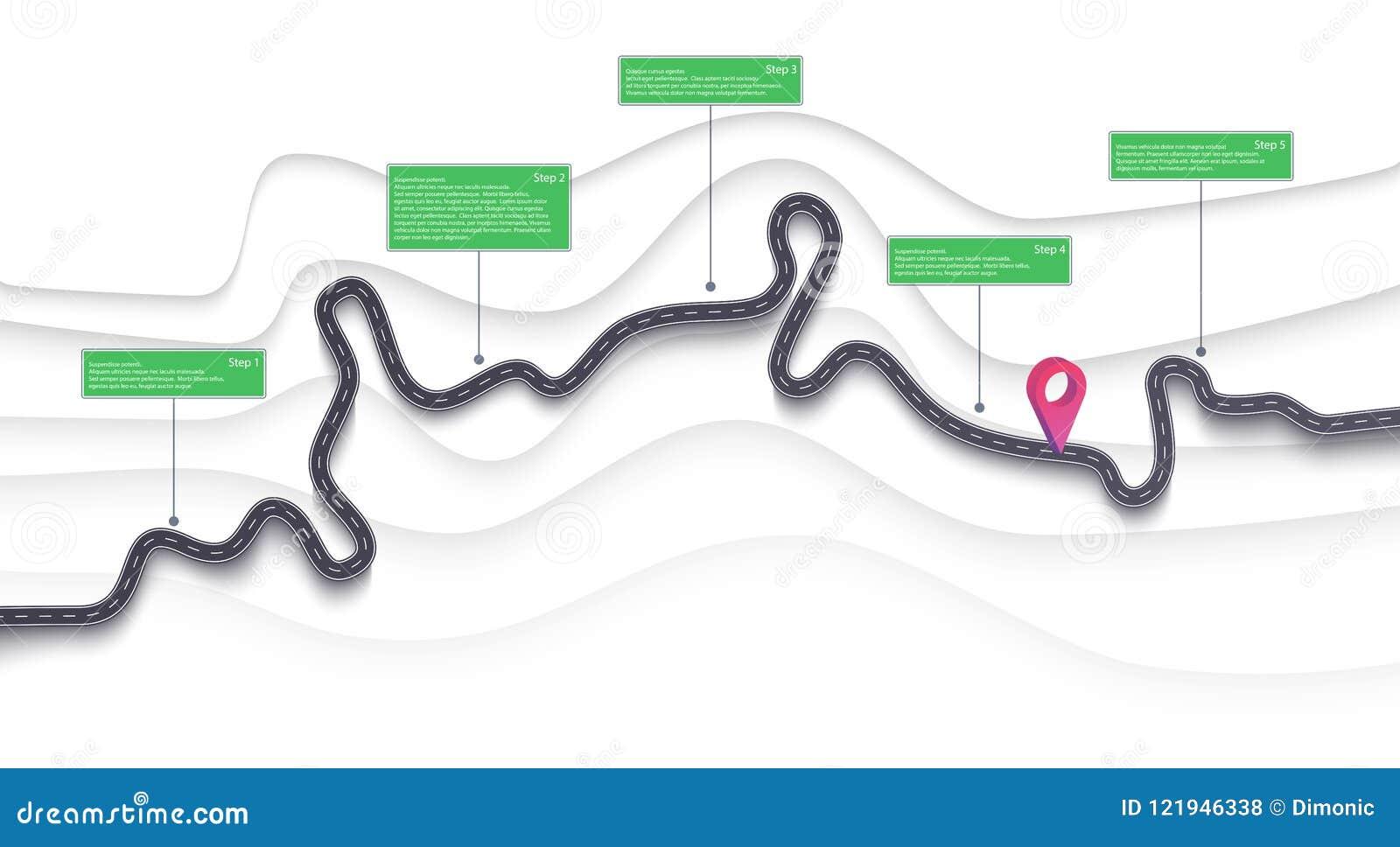 路线图和旅途路线infographics模板 弯曲道路时间安排例证 平的传染媒介 10 eps