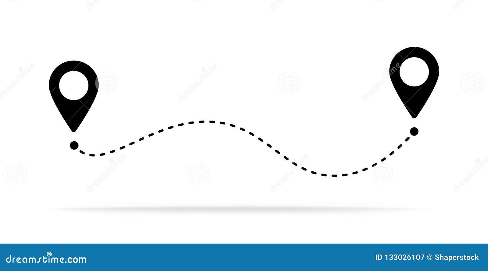 路线地点象、两个别针标志和虚线路,起动和结尾旅途标志,黑色传染媒介