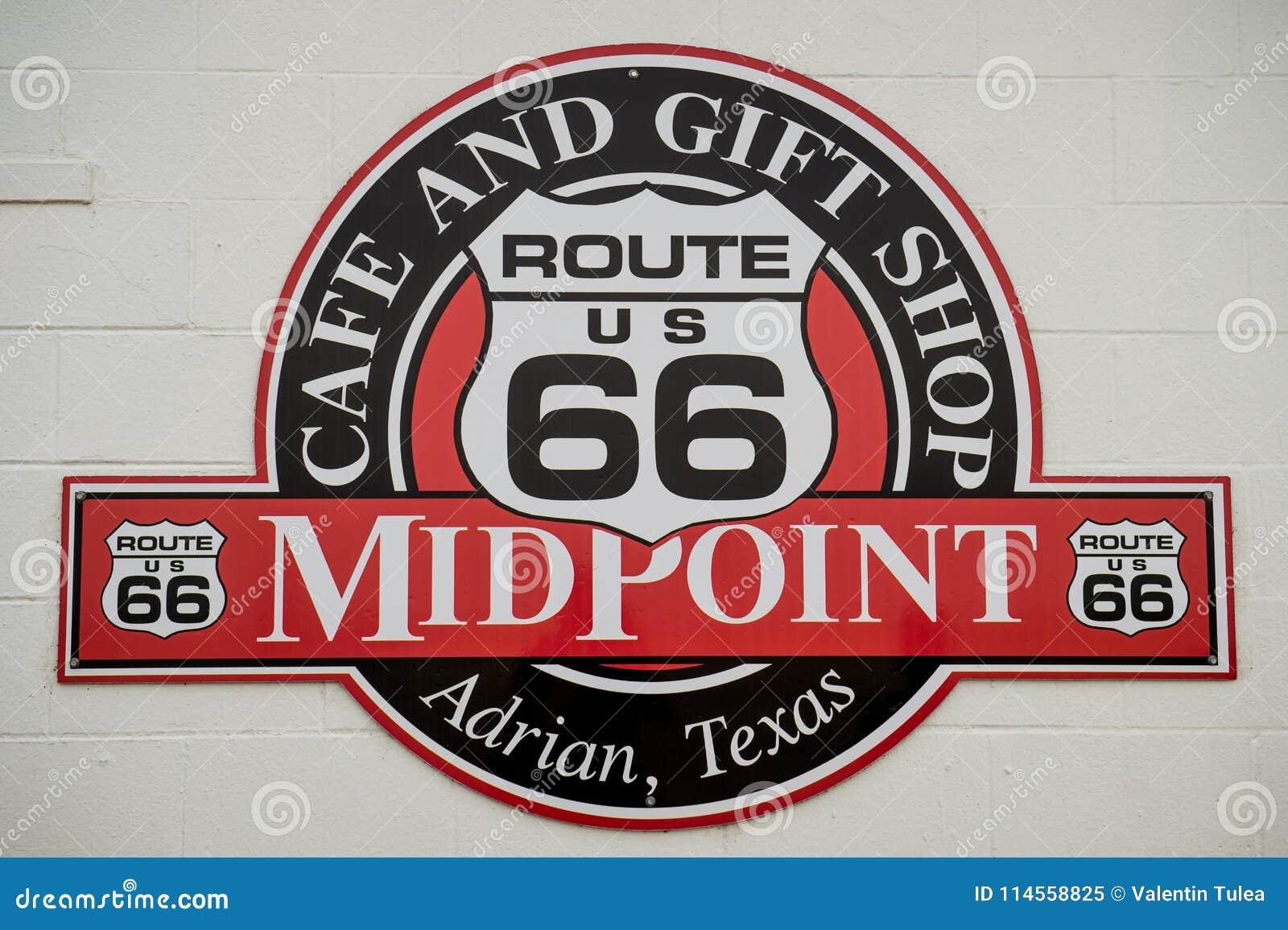 路线66标志中点  半方式 中点咖啡馆路线66咖啡馆