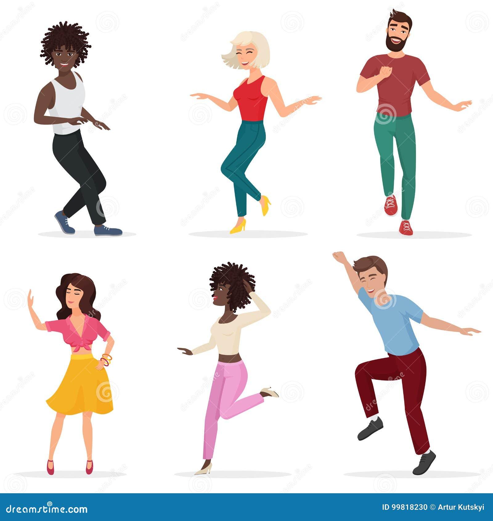 跳舞的青年人 愉快的多道德男人和妇女移动向音乐 传染媒介动画片平的例证