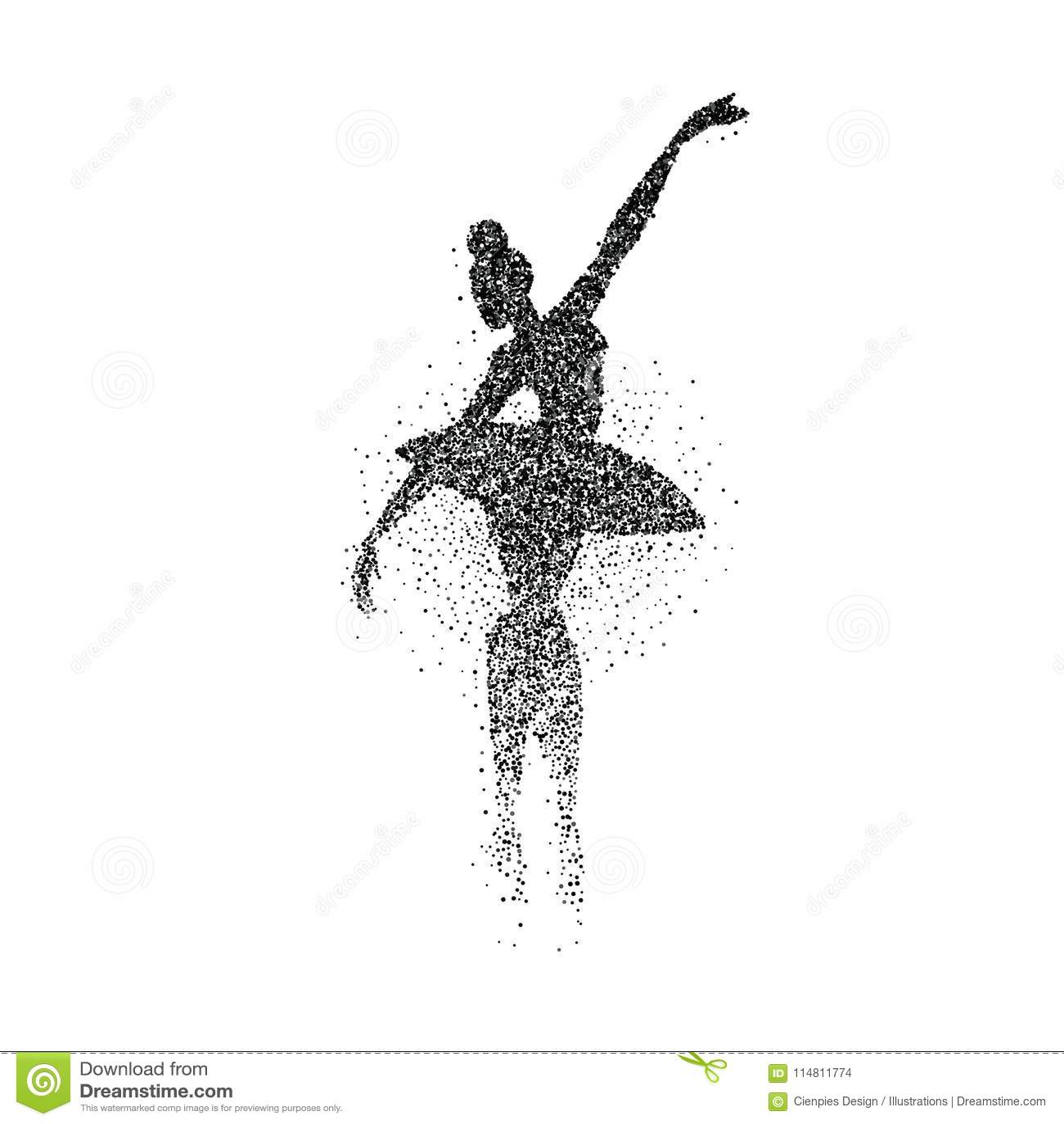 跳芭蕾舞者女孩微粒飞溅剪影