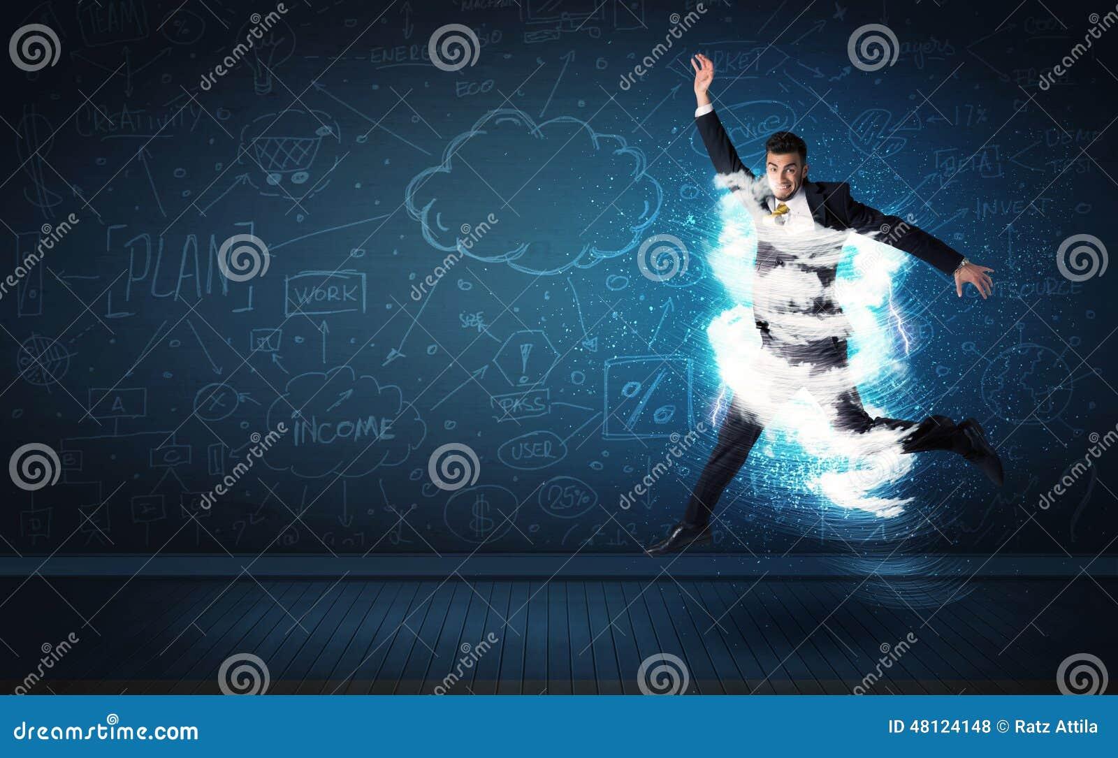 跳跃与动乱的预兆的愉快的商人在他附近