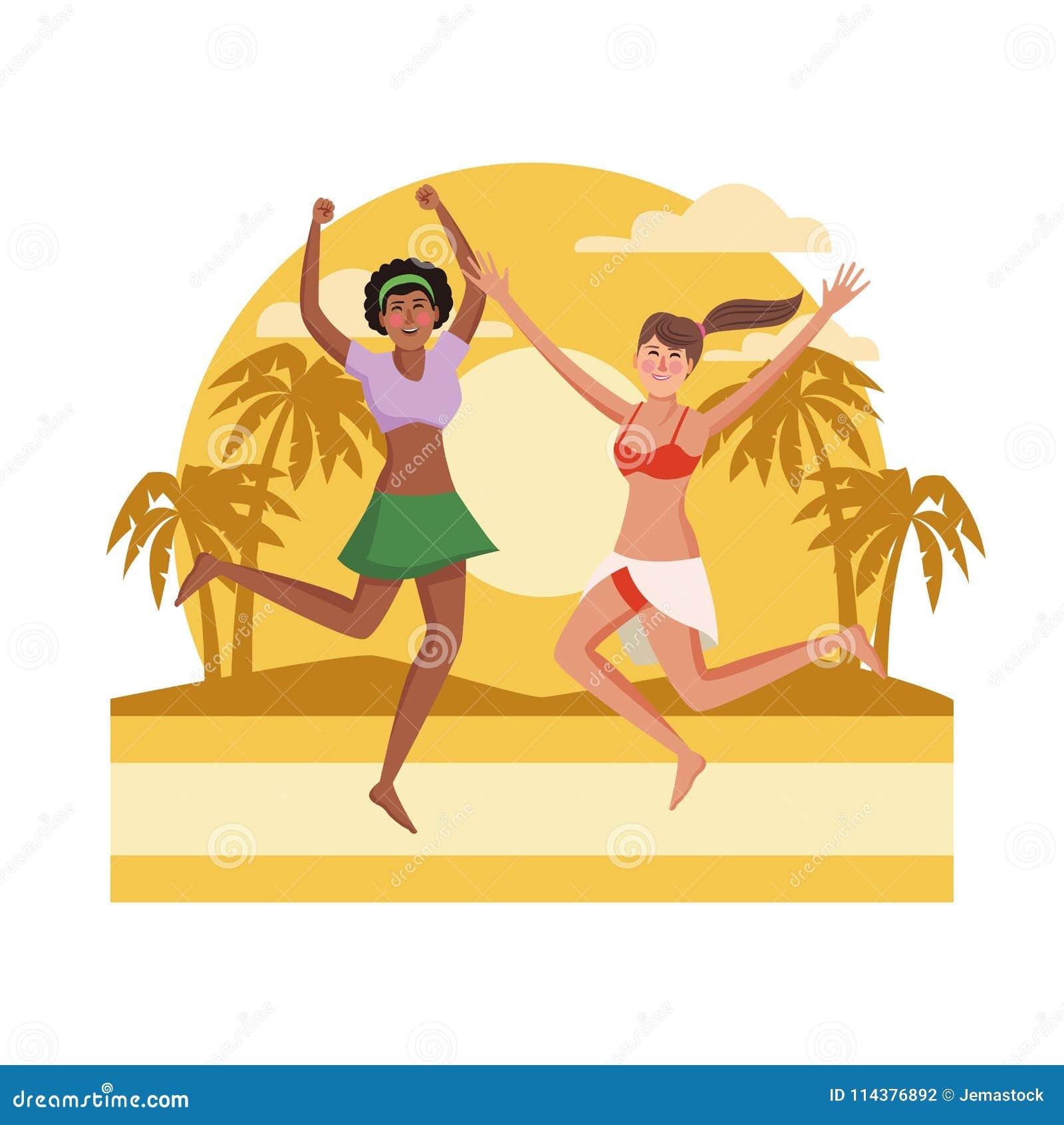 跳跃在海滩的青年人