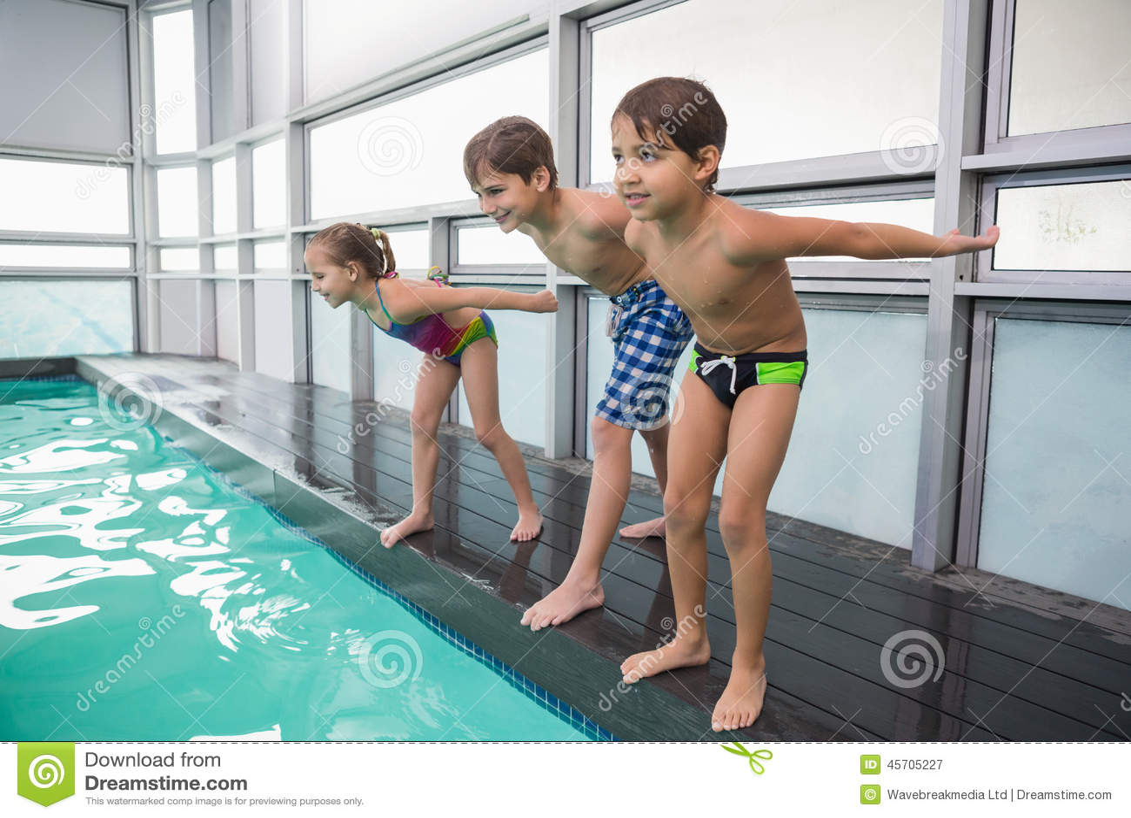 跳跃的逗人喜爱的游泳类在水池
