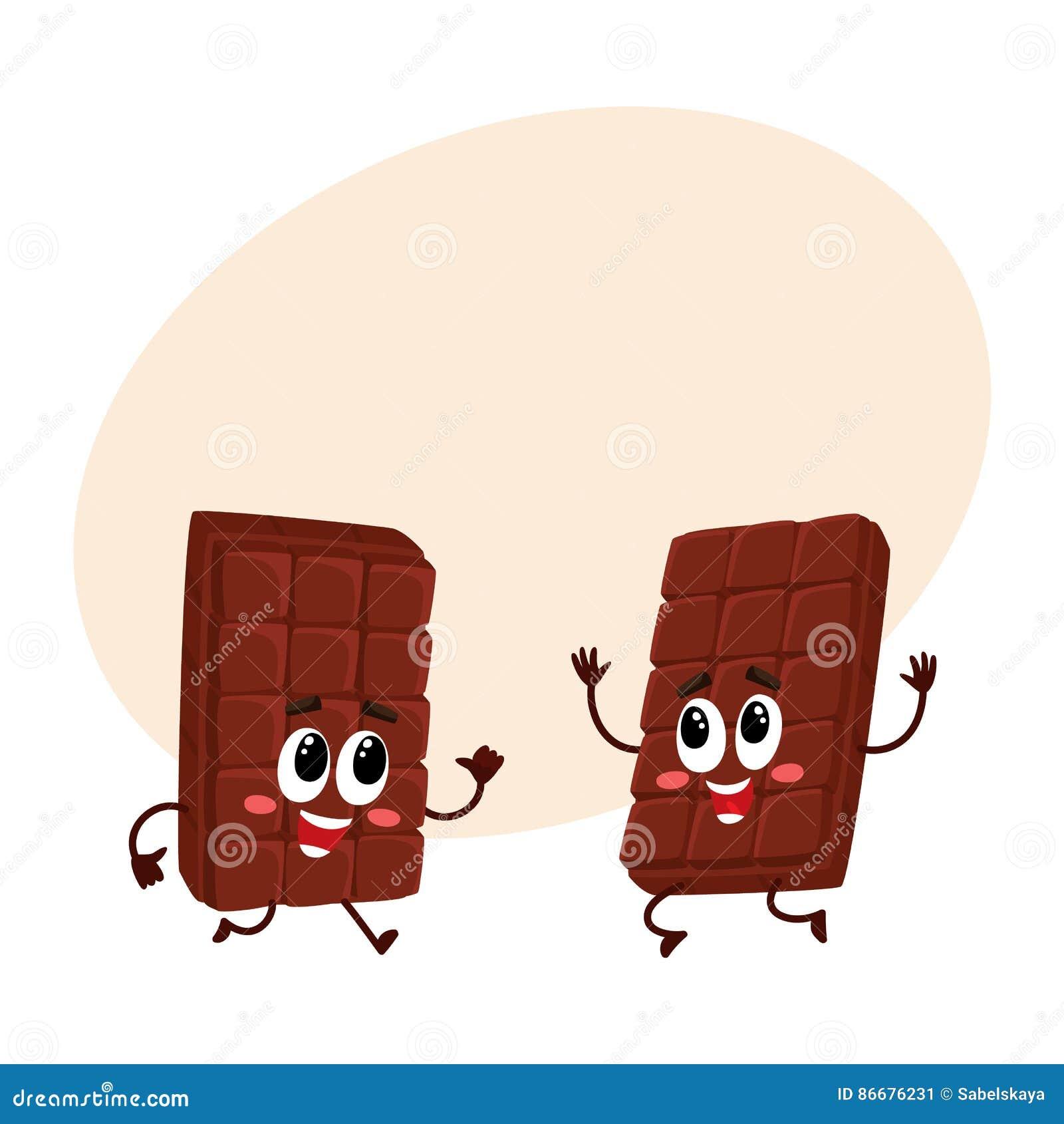 跳跃从幸福和兴奋的两个滑稽的巧克力块字符