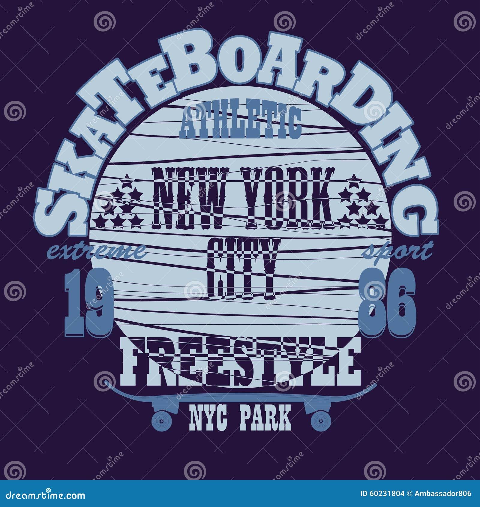 踩滑板的纽约T恤杉图形设计