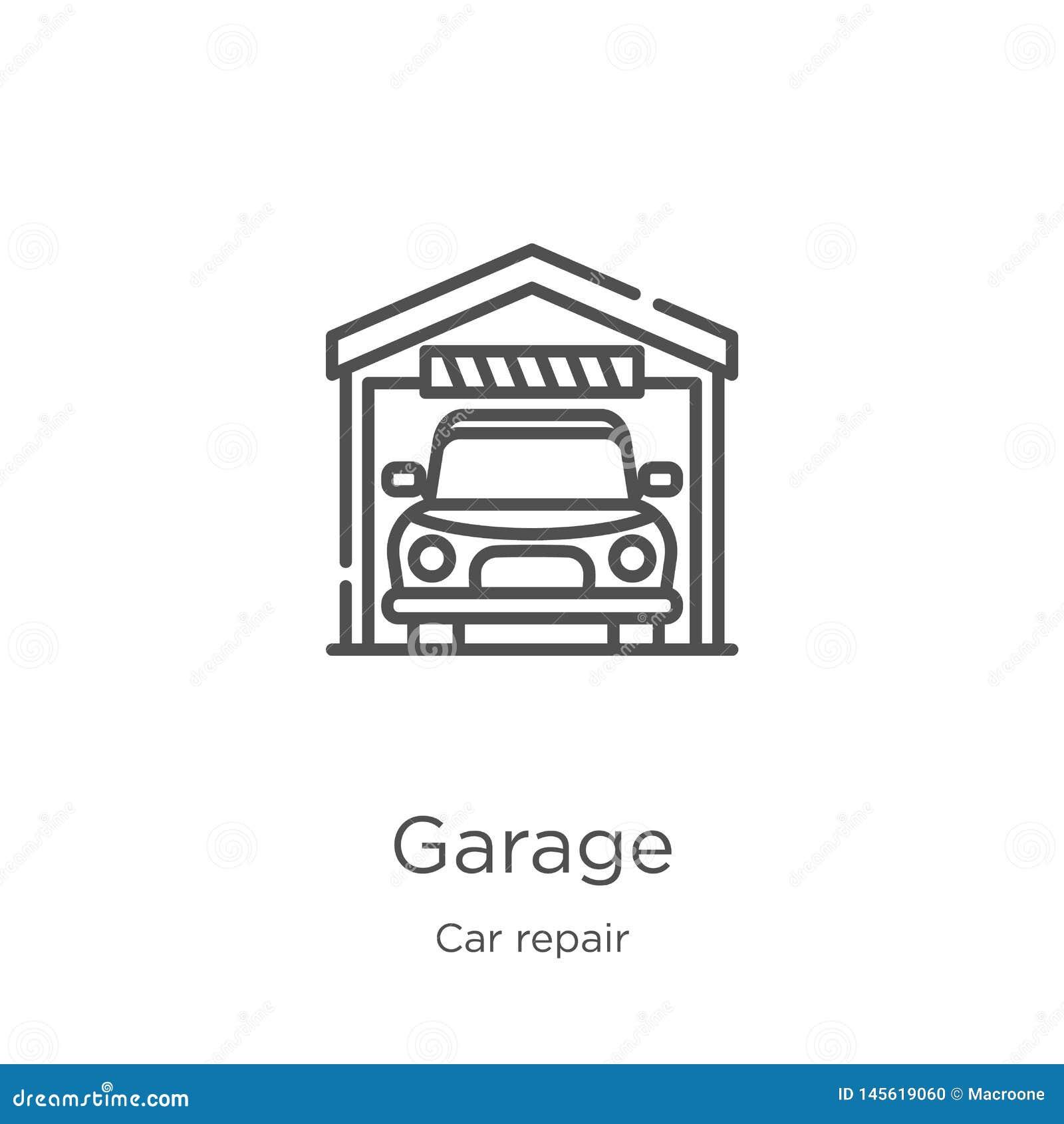 车库从汽车修理汇集的象传染媒介 稀薄的线车库概述象传染媒介例证 概述,稀薄的线车库象