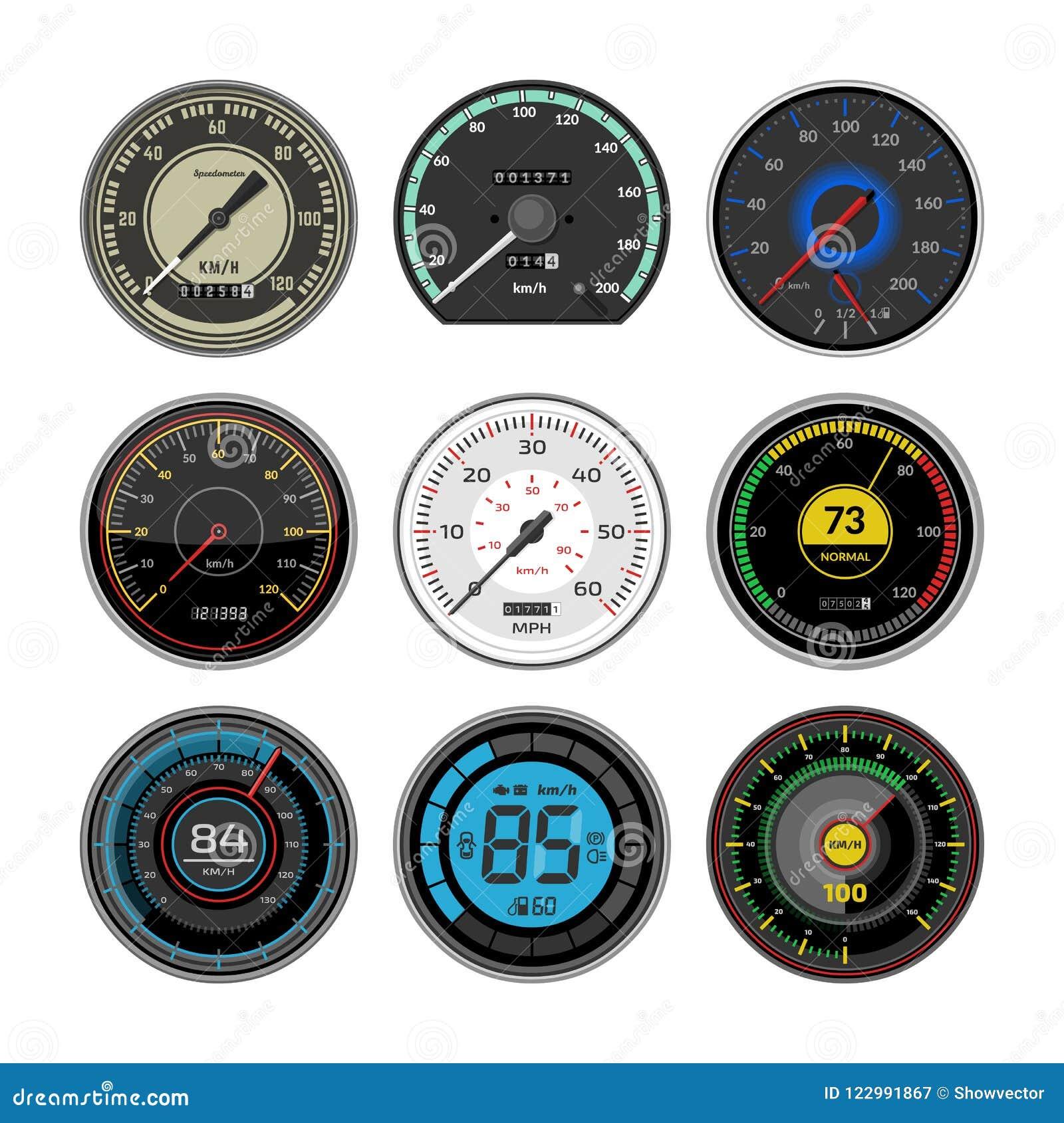 车速表传染媒介汽车速度仪表板盘区和加速功率测量例证套速度限制控制