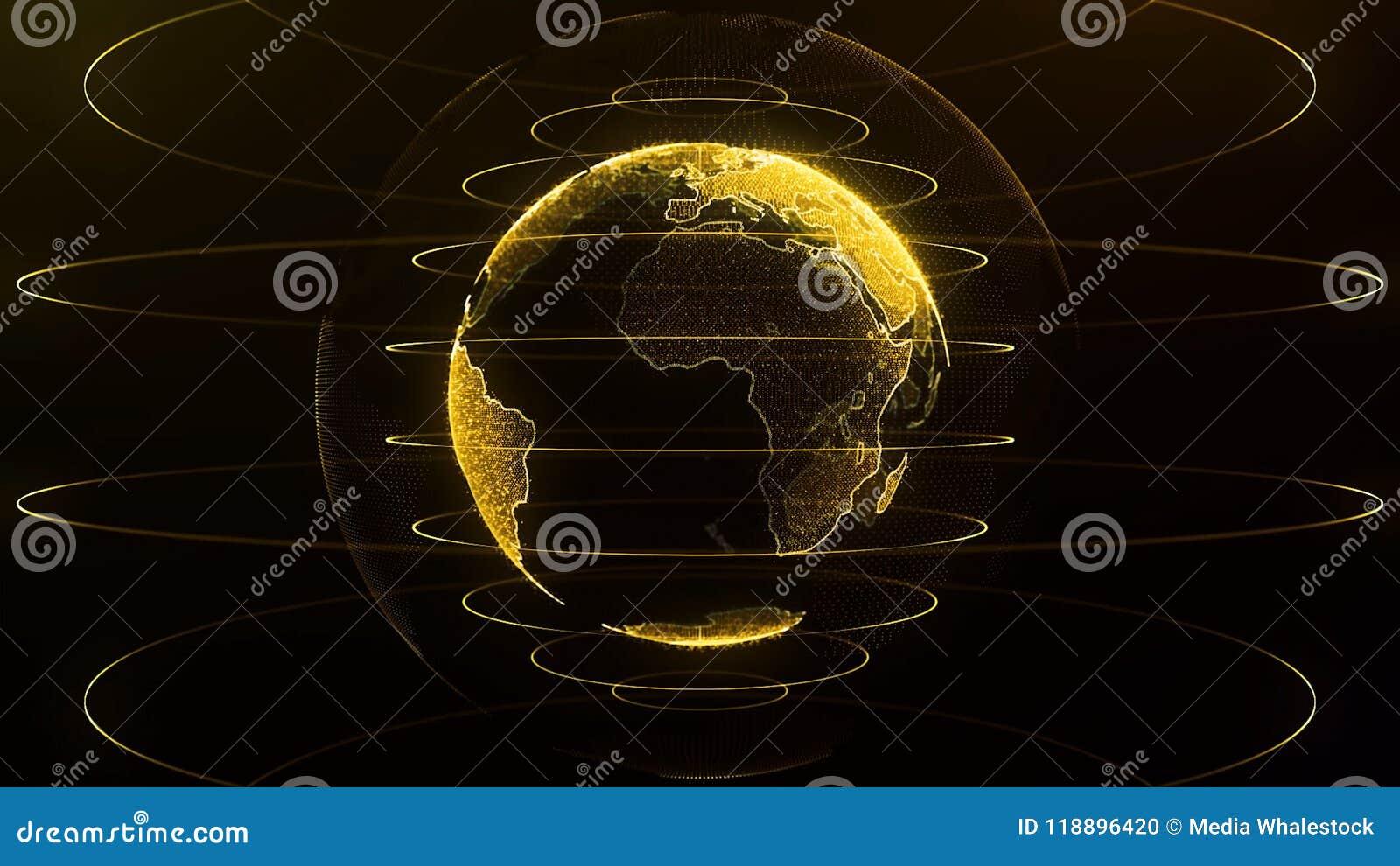 转动的地球 行星地球作为与力量弧的一张黄光全息图排行 真正地球未来派地球全息图