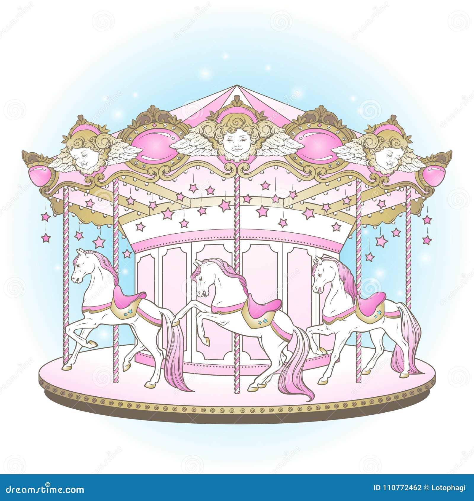 转盘La佳丽世纪逗人喜爱快活去与马的回合为在淡色手拉的传染媒介例证的孩子设计