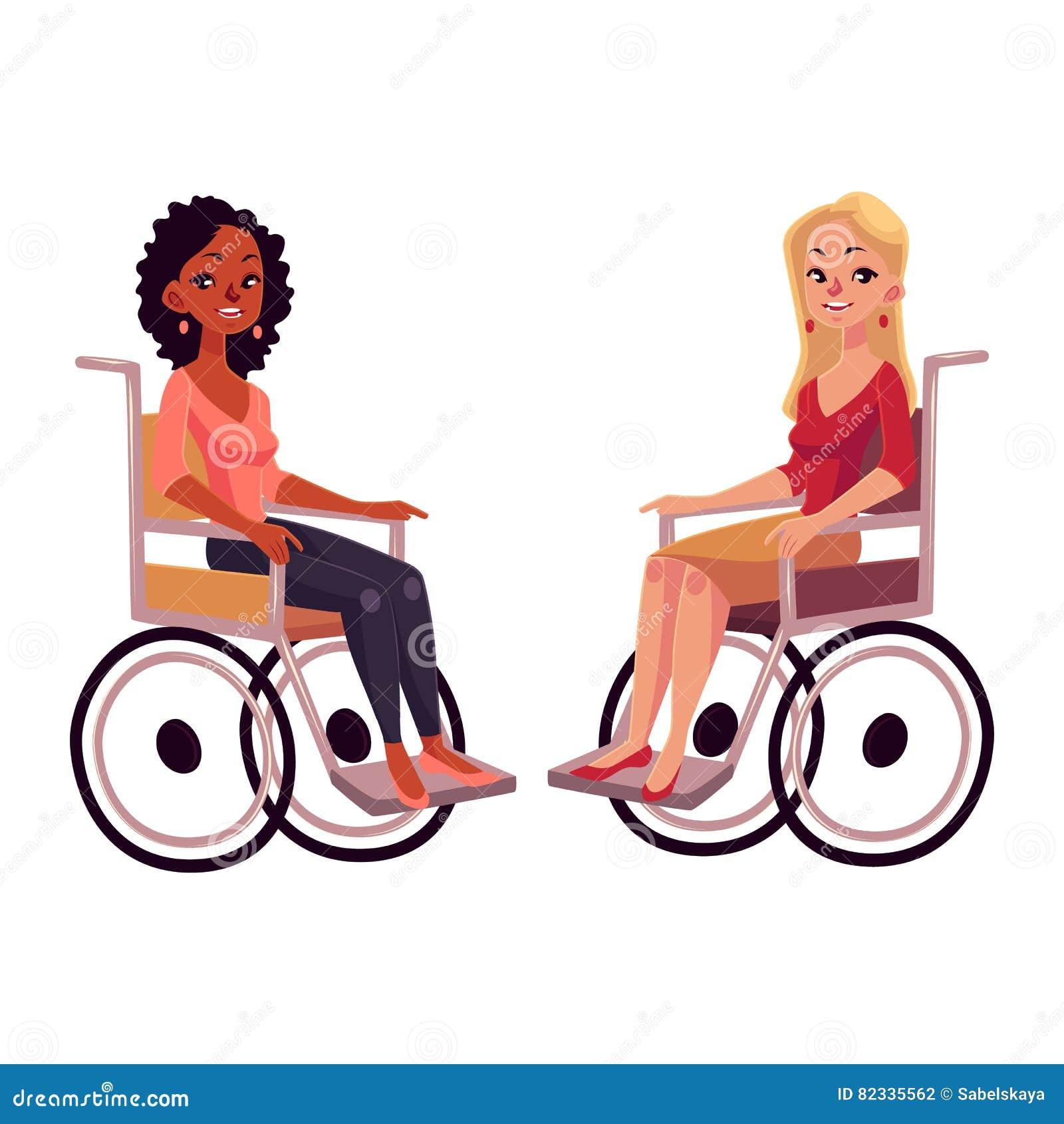 轮椅的,机会均等概念年轻黑人和白种人妇女