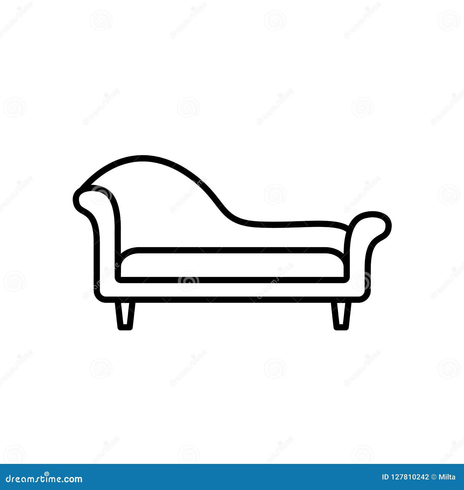 轻便马车休息室沙发的黑&白色传染媒介例证 线集成电路
