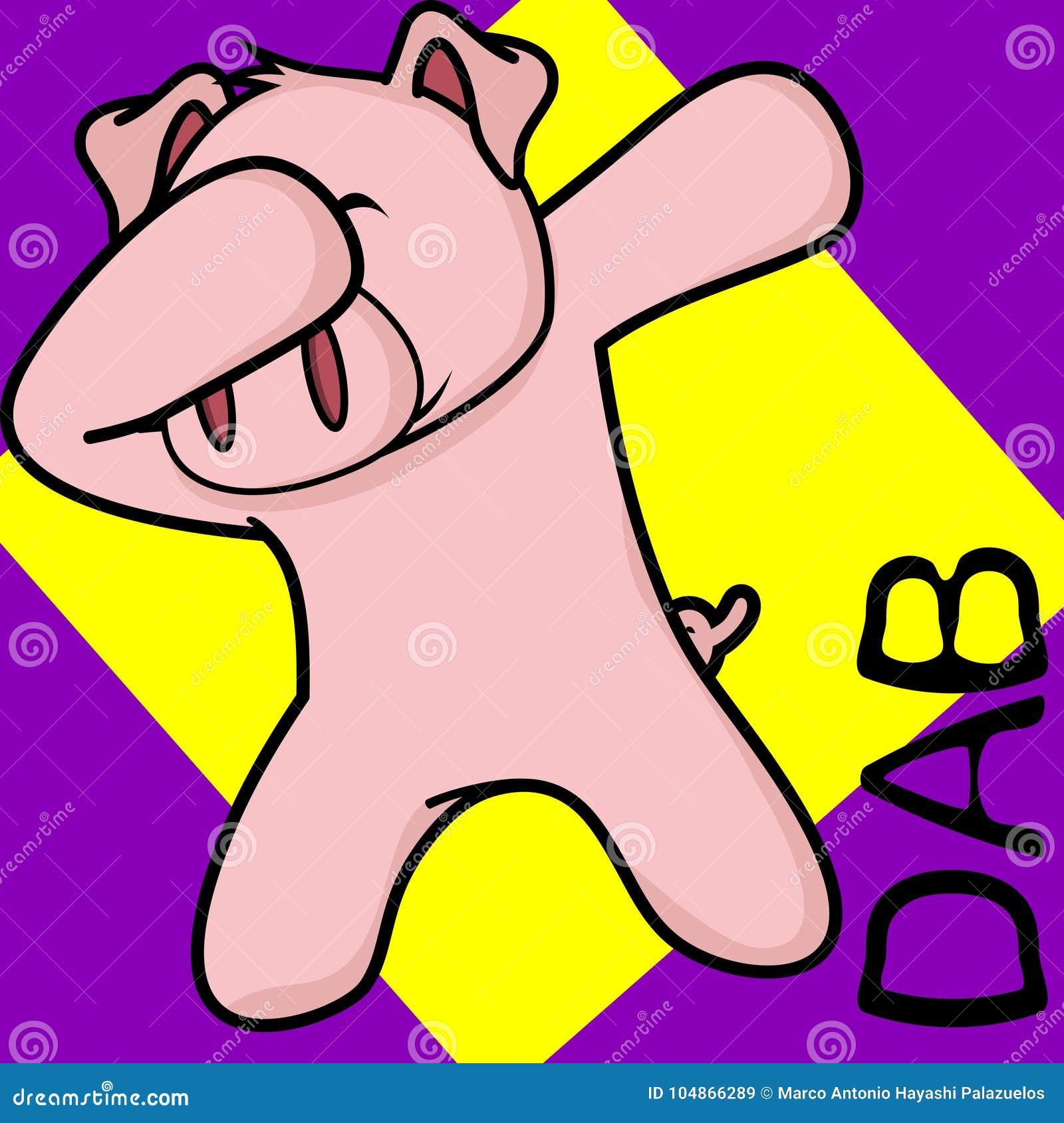 轻拍轻打的姿势猪孩子动画片
