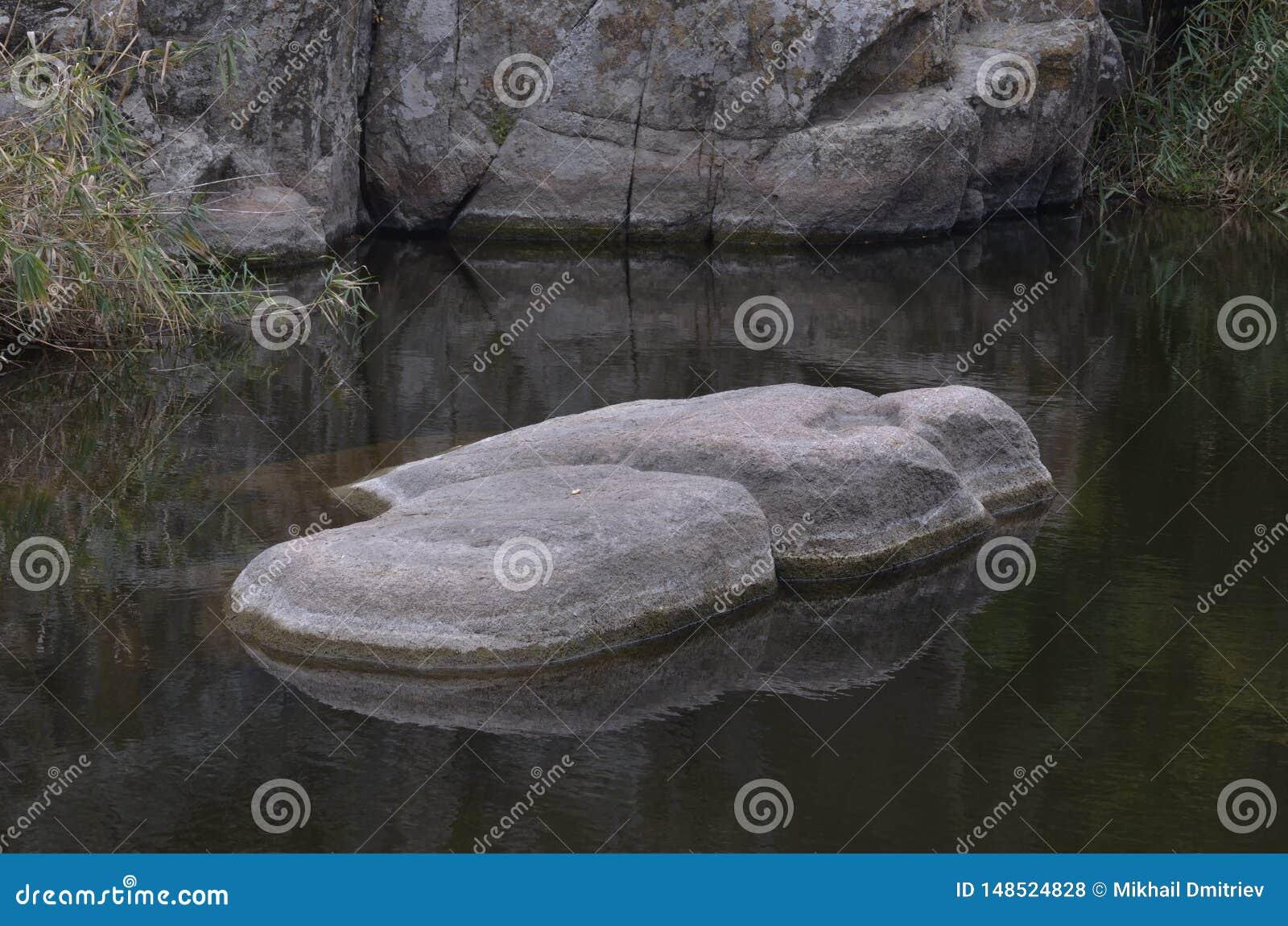 轻的冰砾在一条黑暗的河 美妙的美人鱼的床