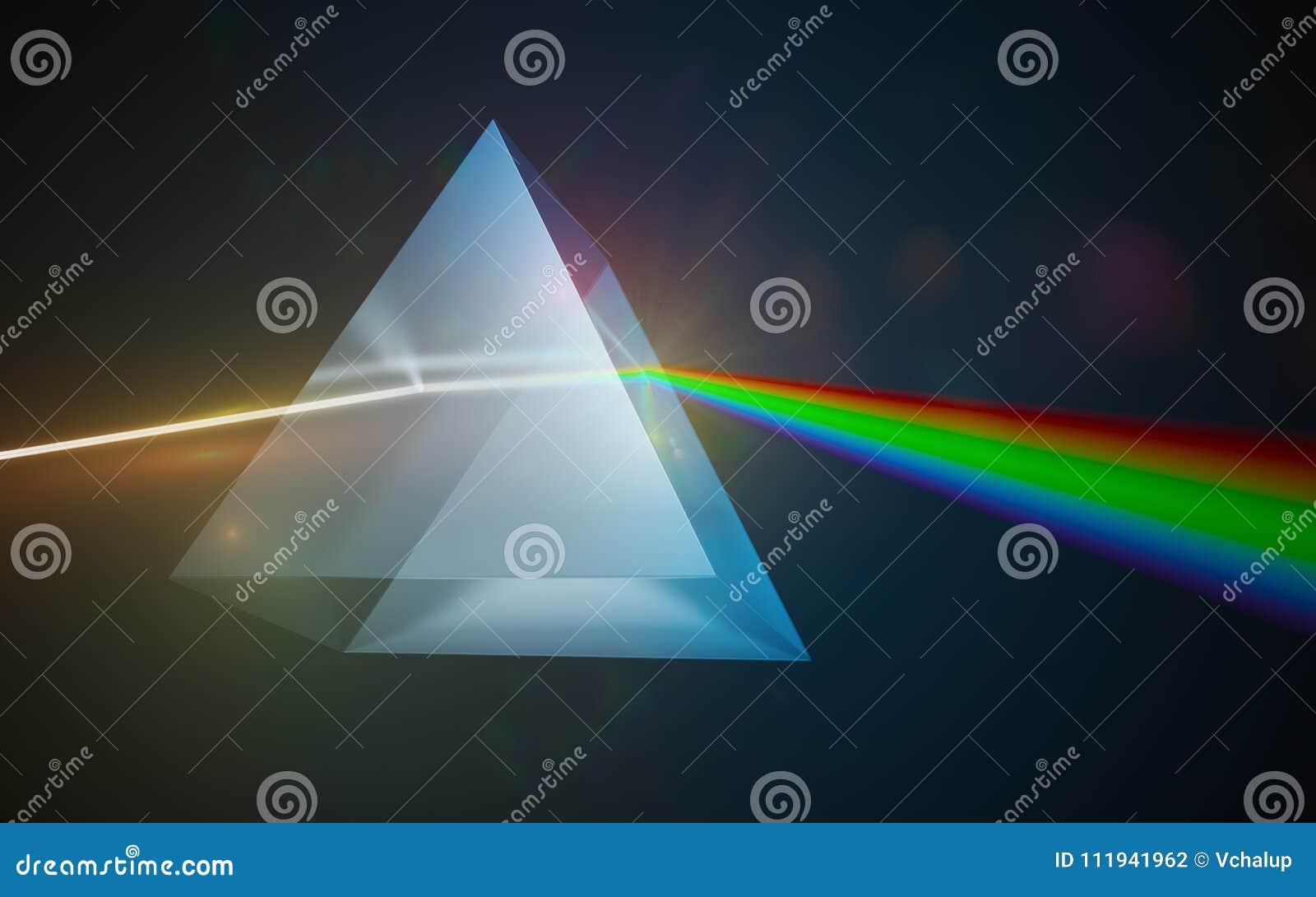 轻的分散作用和折射概念 发光通过三角玻璃棱镜的光 3d被回报的例证