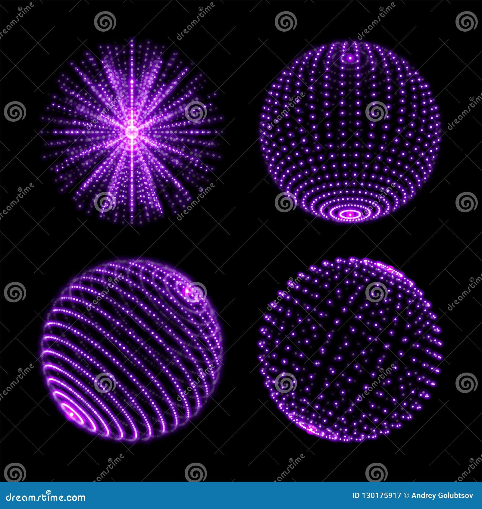 轻的球形球 导航与螺旋紫外闪闪发光和能量焕发光芒或者微粒的霓虹灯地球与小点连接