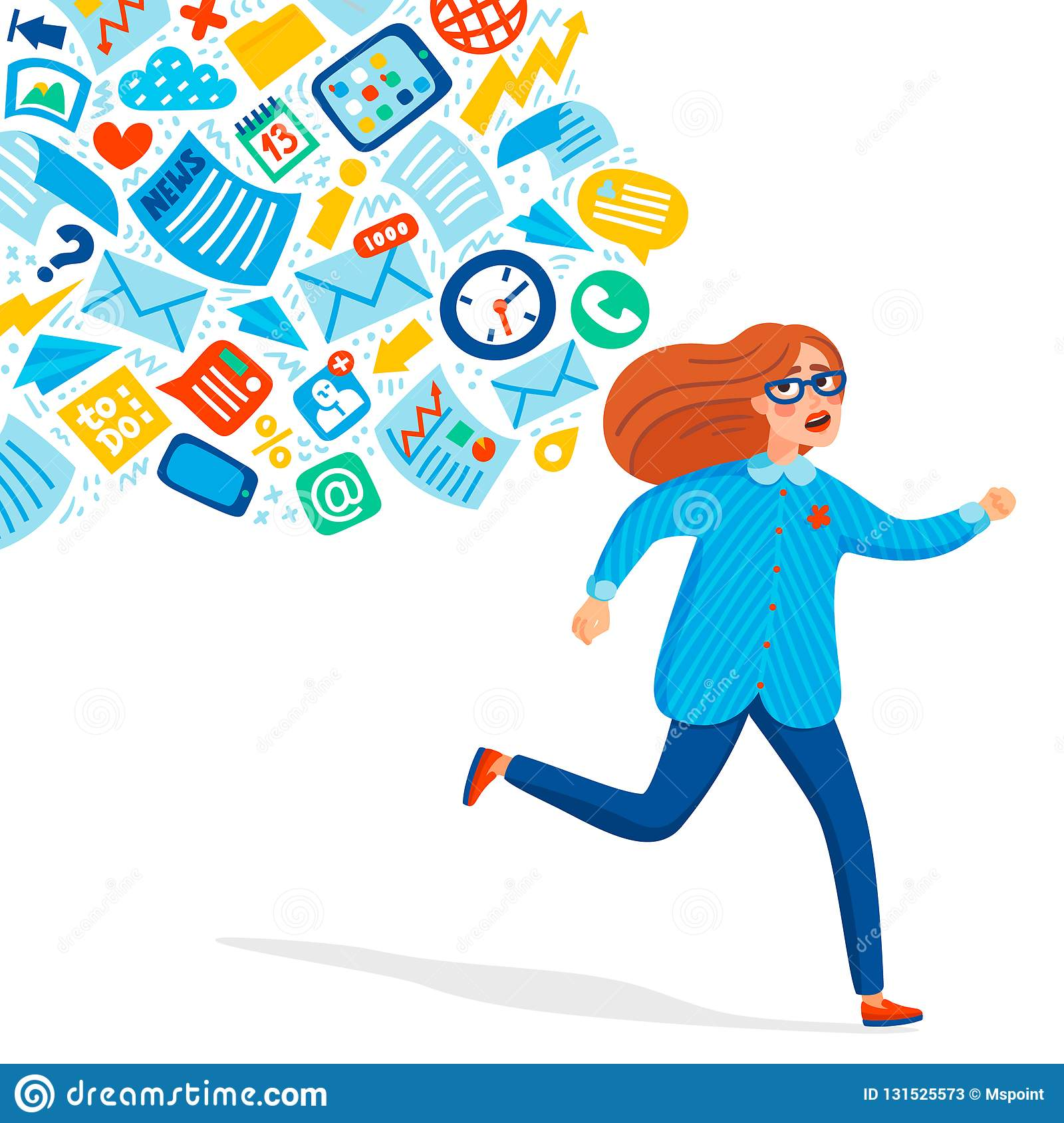 输入超载 信息超载概念 跑远离信息小河的年轻女人追求他 概念